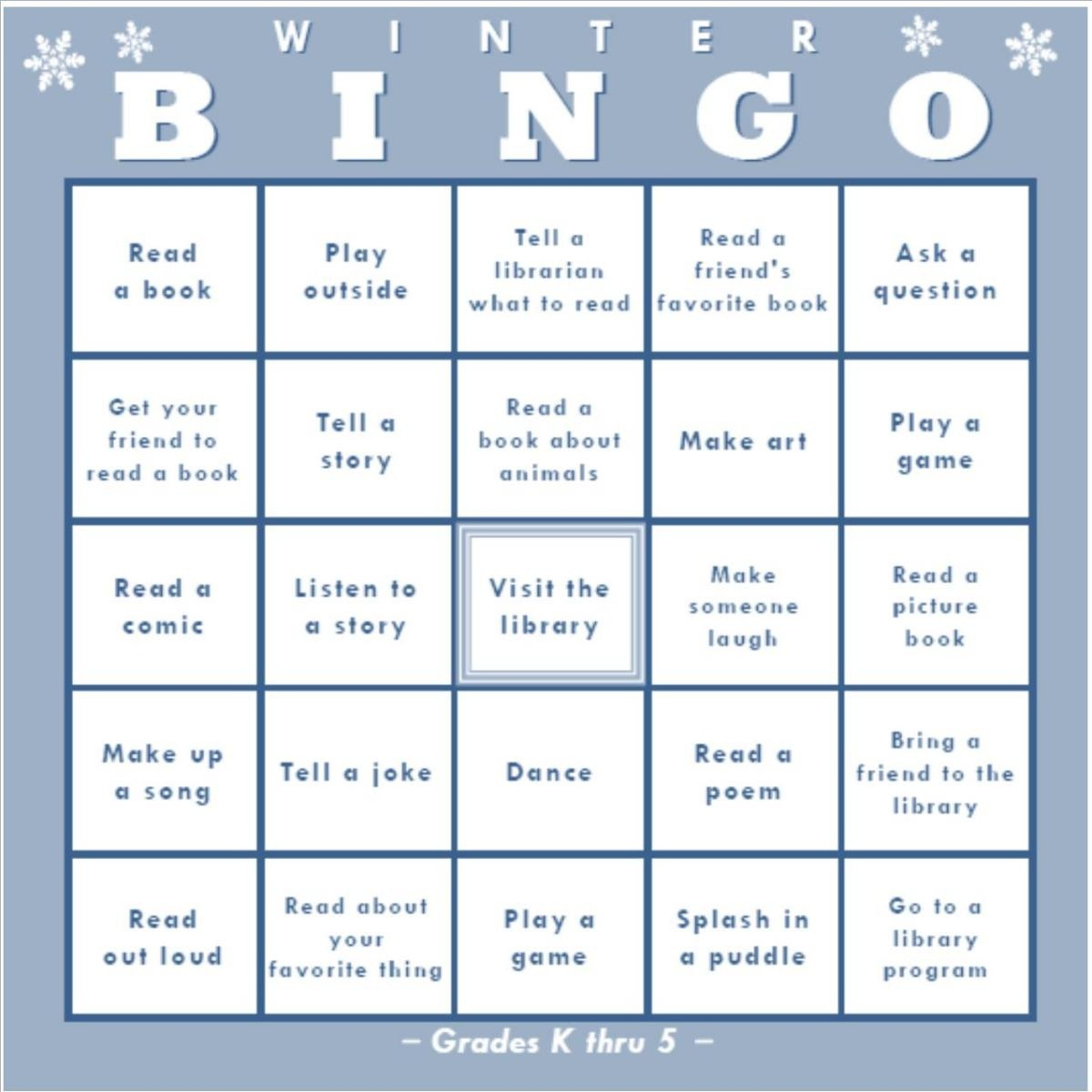 Winter Bingo @ Your Library! | Oakland Public Library - Winter Bingo Cards Free Printable