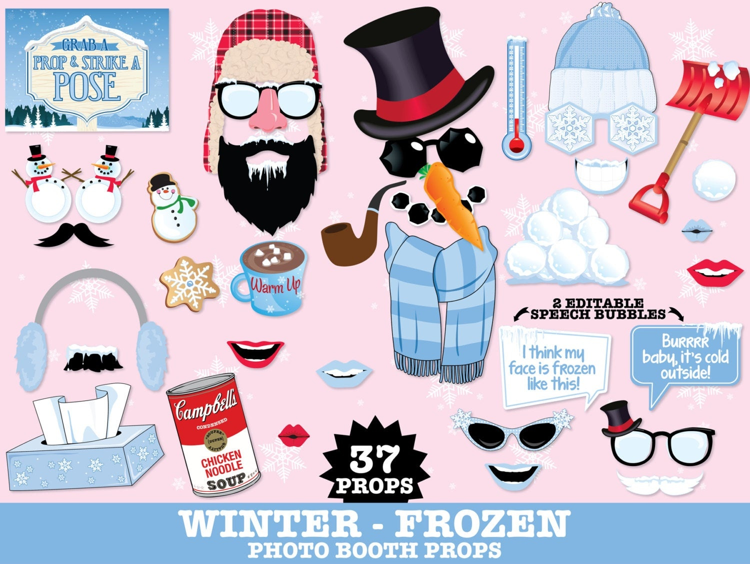 Winter Frozen Photo Booth Props - Frozen Party, Christmas Party, Hot - Free Printable Frozen Photo Booth Props