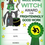 Witch Certificate: Award Certificate Frighteningly Good Work   Free Printable Halloween Award Certificates