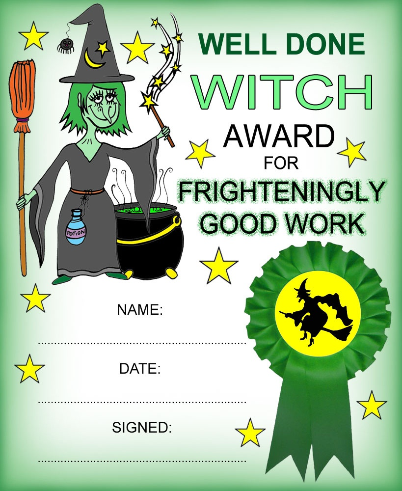 Witch Certificate: Award Certificate Frighteningly Good Work - Free Printable Halloween Award Certificates