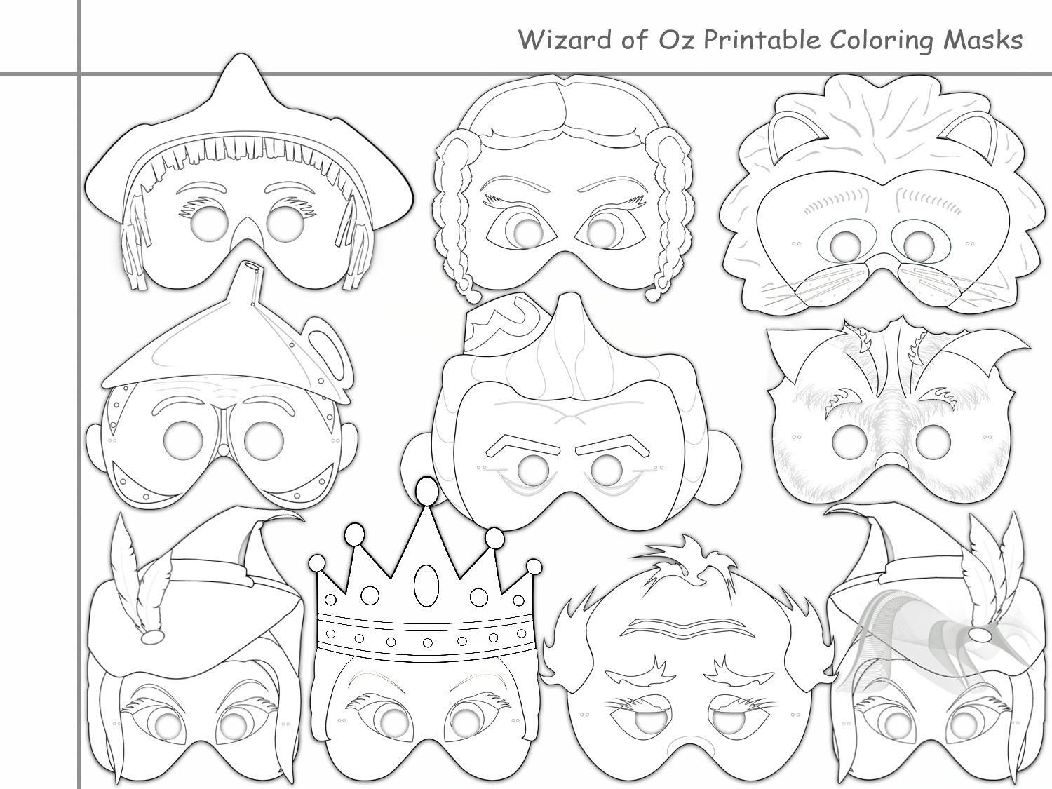 Wizard Of Oz Printable Coloring Masks,holidaypartystar On Zibbet - Free Printable Wizard Of Oz Masks
