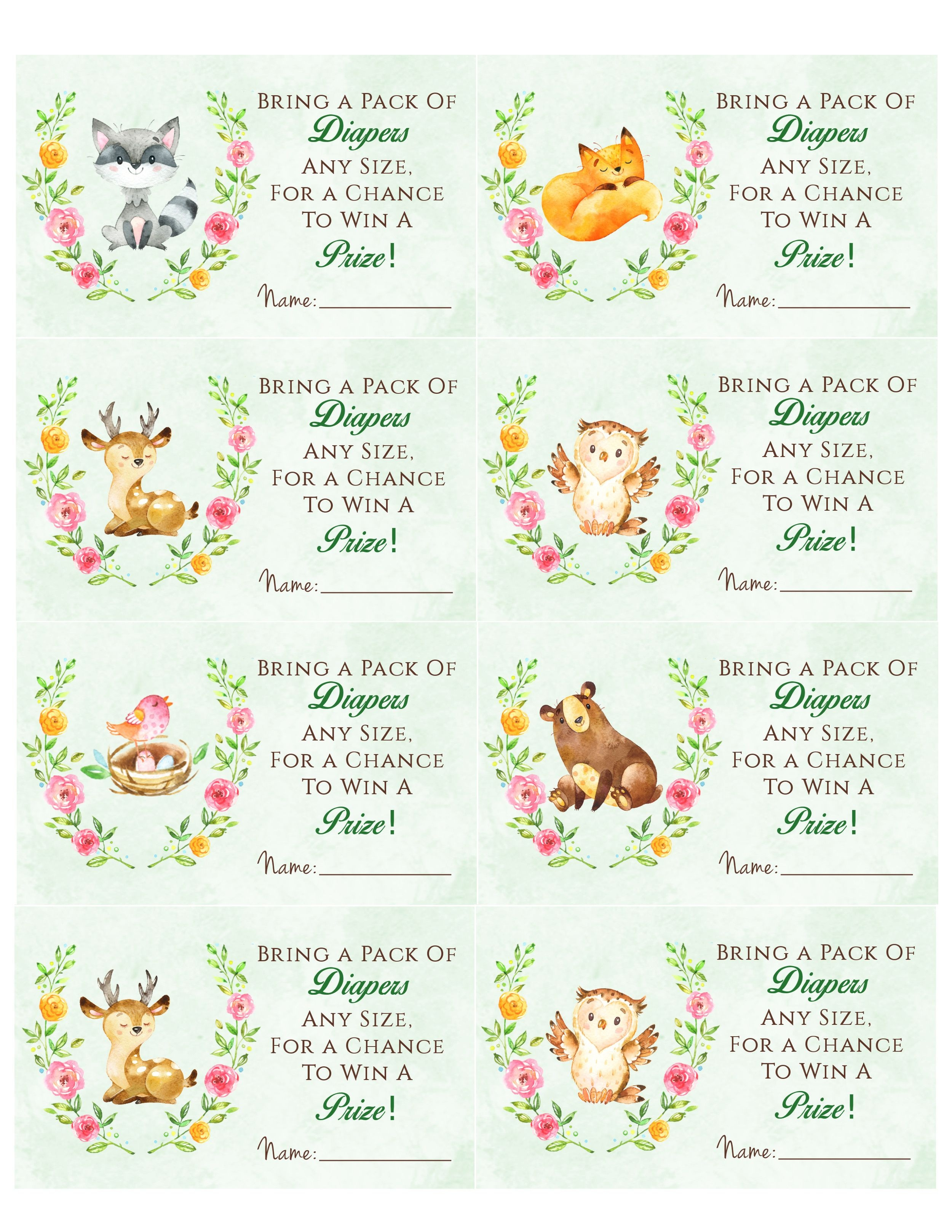Woodland Animal Baby Shower Diaper Raffle. Free Printable | Birthday - Free Printable Diaper Raffle Sign