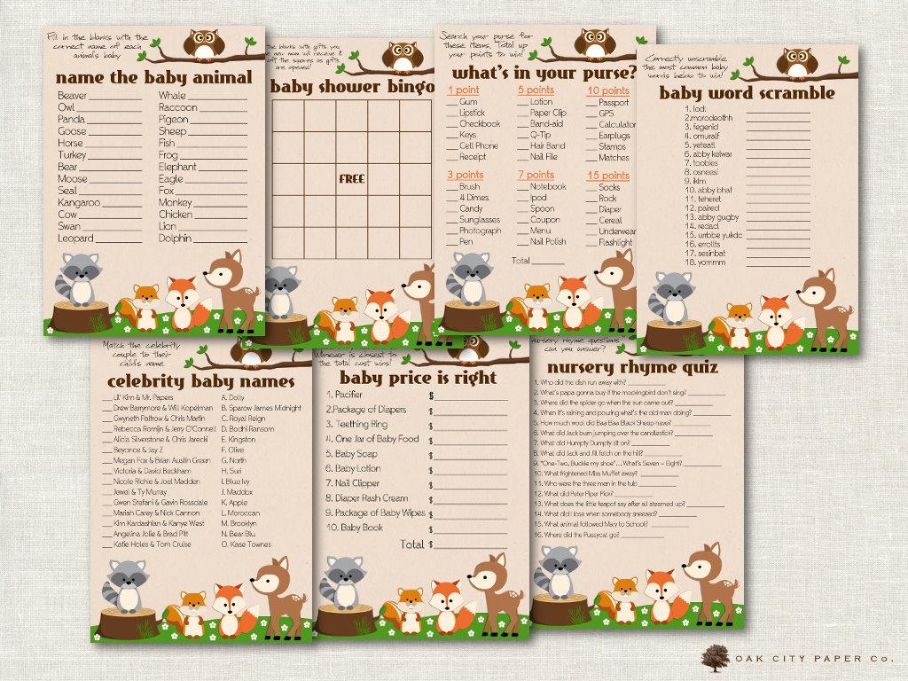 Woodland Baby Shower Games Animal Baby Shower Games   Etsy - Woodland Baby Shower Games Free Printables
