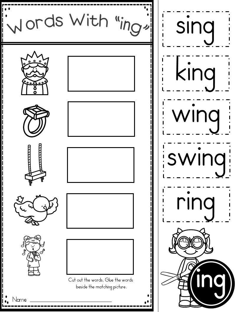 Word Family Ing Phonics Practice Printables | Kindergarten Tales - Free Printable Word Family Poems