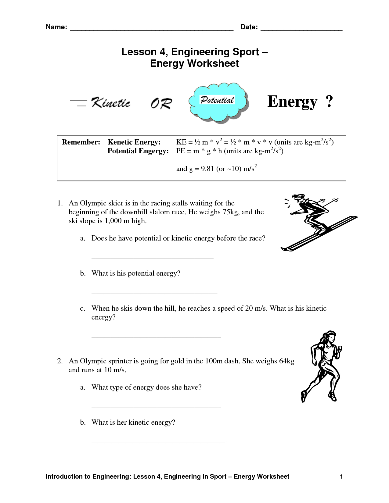 Worksheet : Potential And Kinetic Energy Worksheets For Kids Best - Free Printable Worksheets On Potential And Kinetic Energy