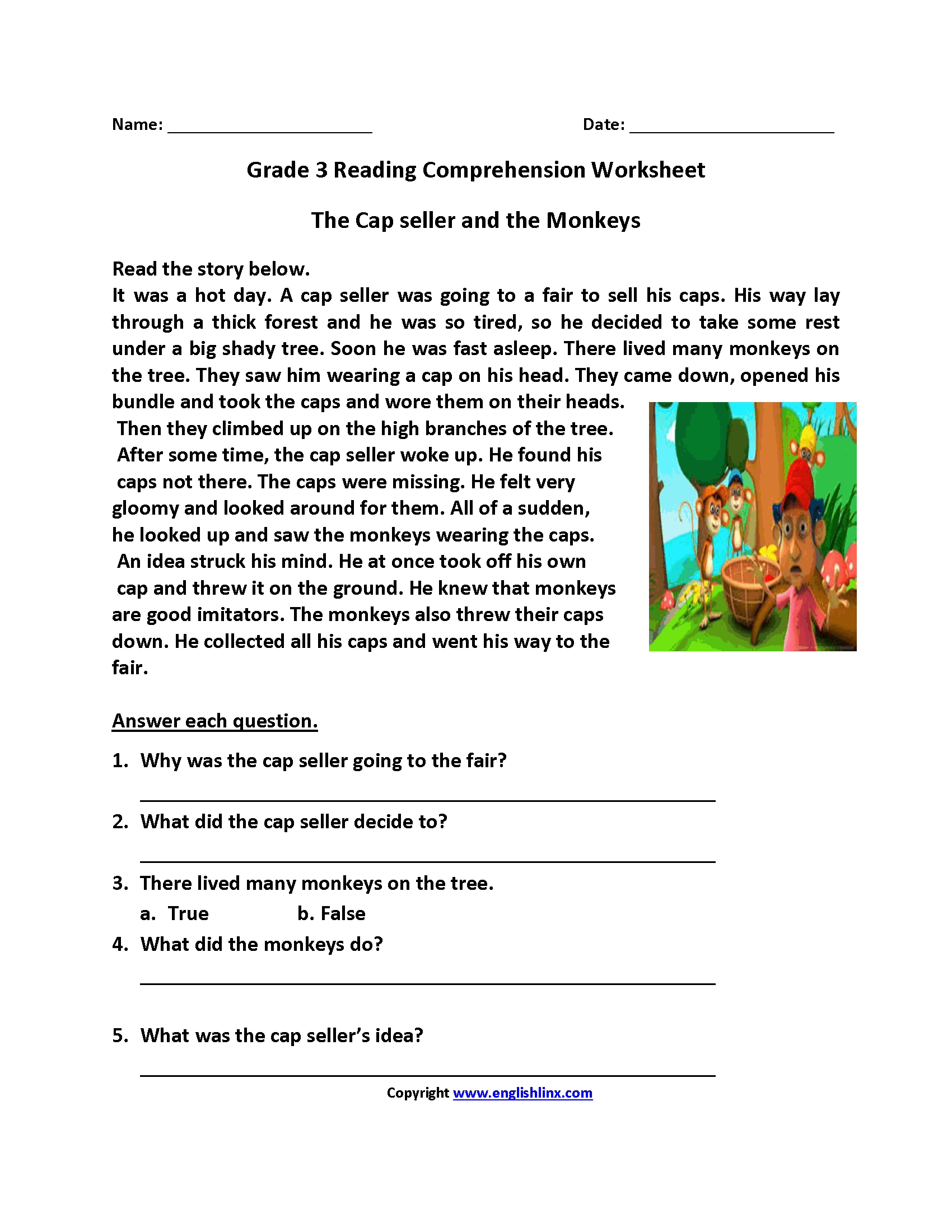 Worksheet Third Grade Comprehension Worksheets Reading Worksheets - Free Printable 3Rd Grade Reading Worksheets