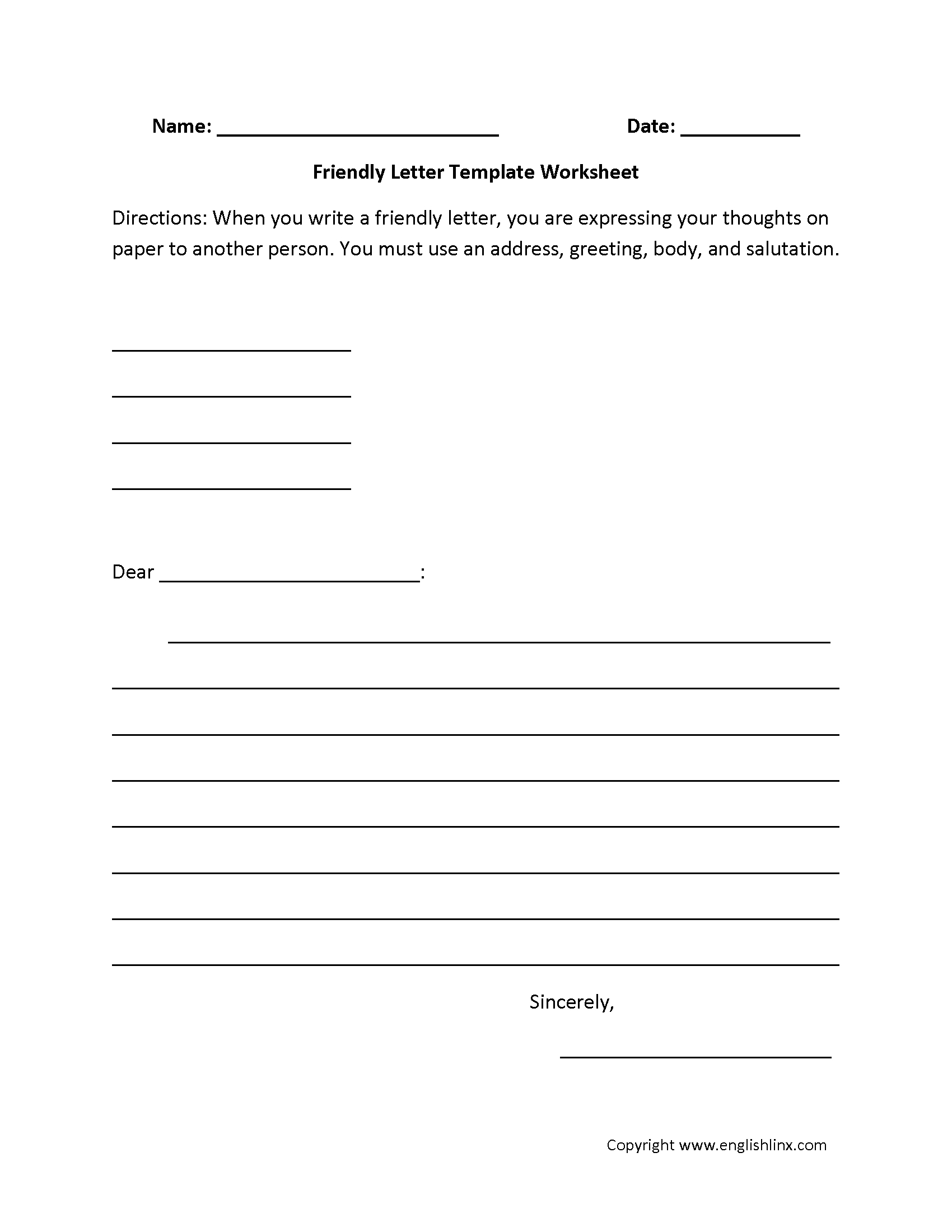 Writing Worksheets | Letter Writing Worksheets - 6Th Grade Writing Worksheets Printable Free