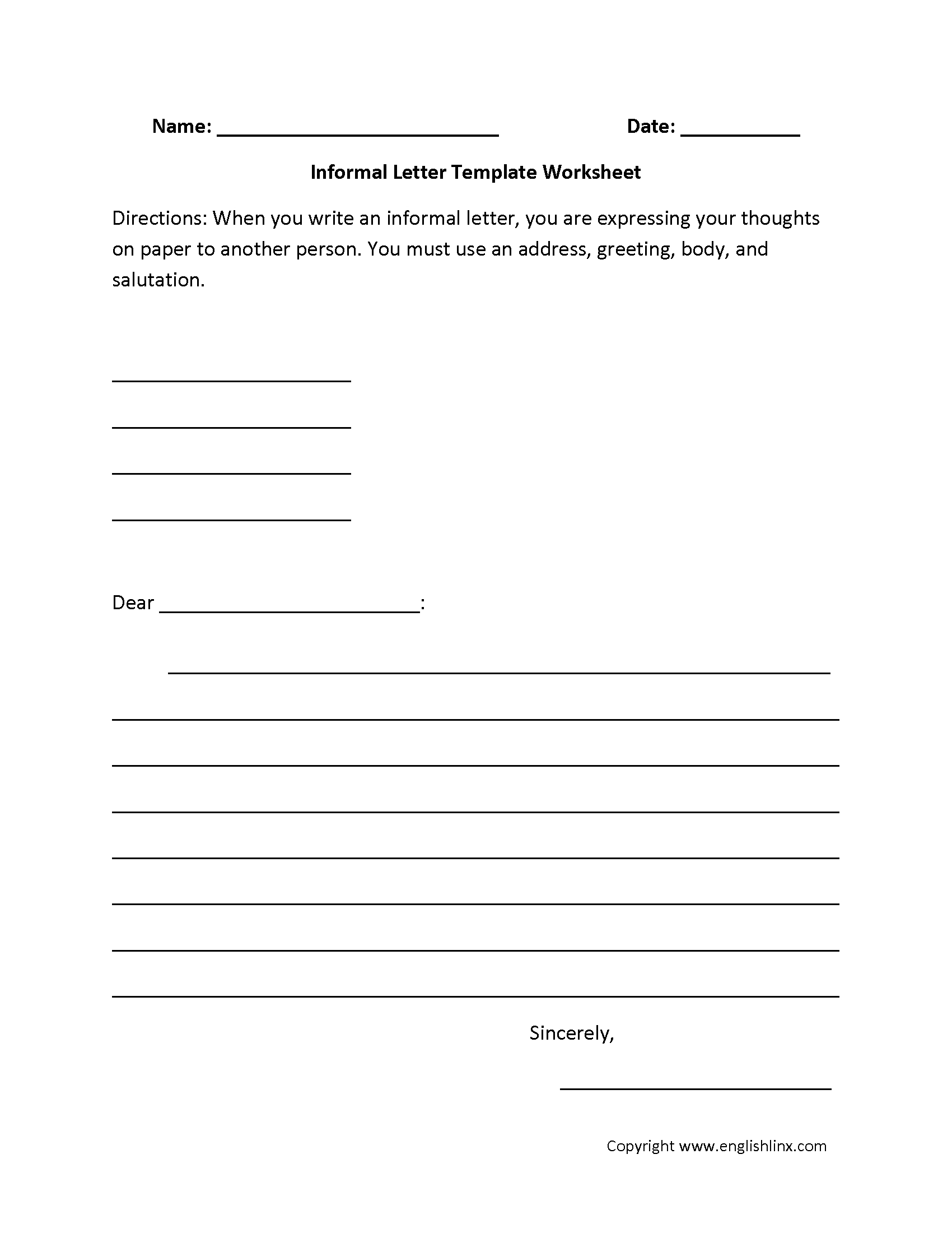 Writing Worksheets   Letter Writing Worksheets - Free Printable Letter Writing Worksheets