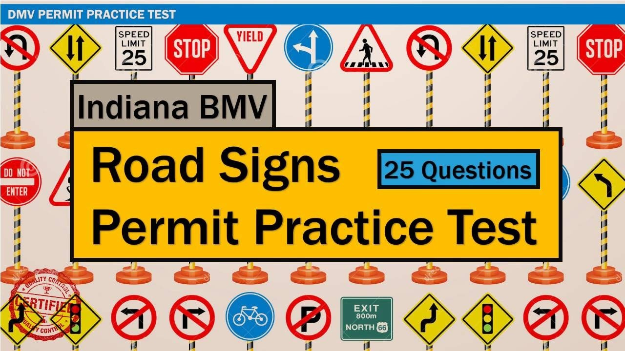 Written Test For Driving: Indiana Bmv Road Signs Permit Practice - Free Printable Testing Signs