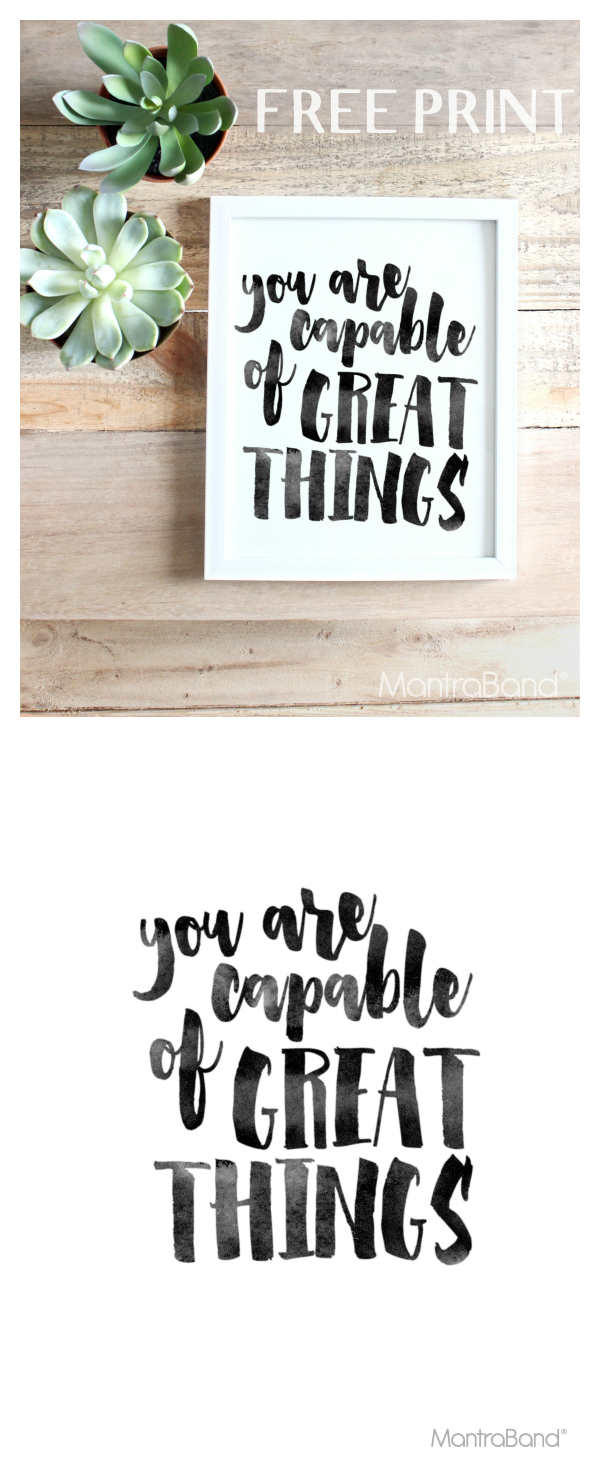 You Are Capable Of Great Things | Free Prints | Printable Wall Art - Free Printable Quote Stencils