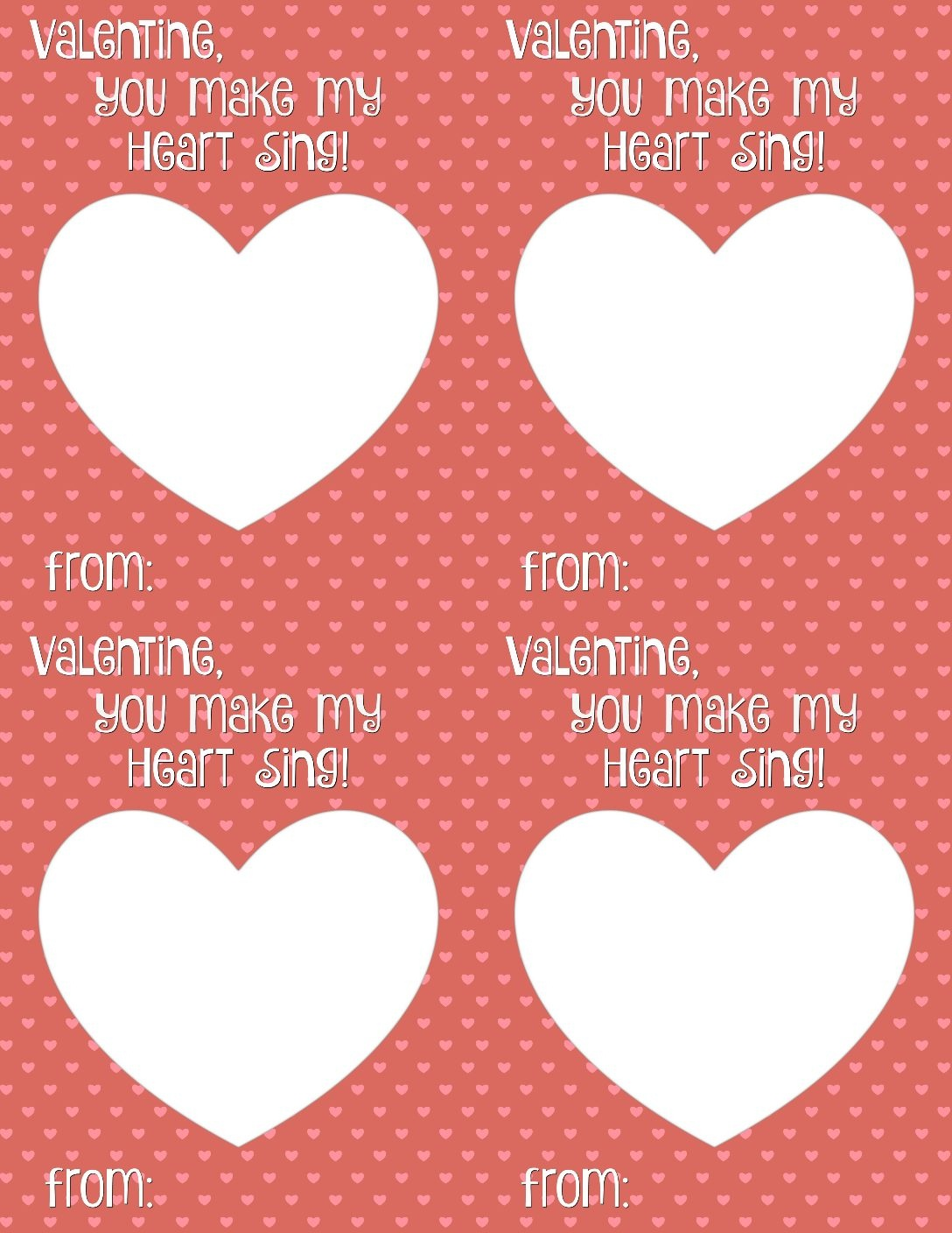 You Make My Heart Sing Valentine Card Printable - Smashed Peas & Carrots - Free Printable Valentine Cards