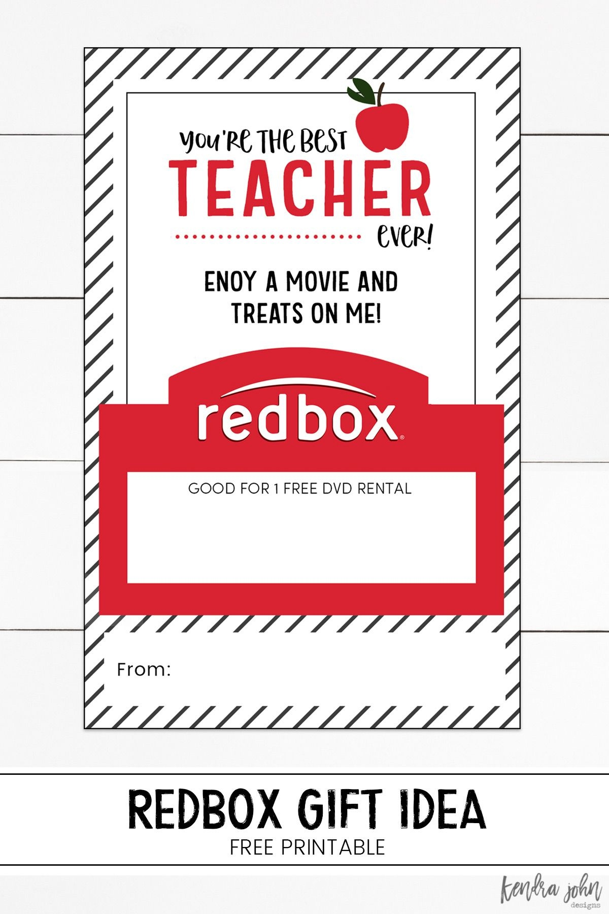 You're The Best Teacher Ever! Free Printable And Redbox Gift Tag - Free Printable Redbox Gift Tags