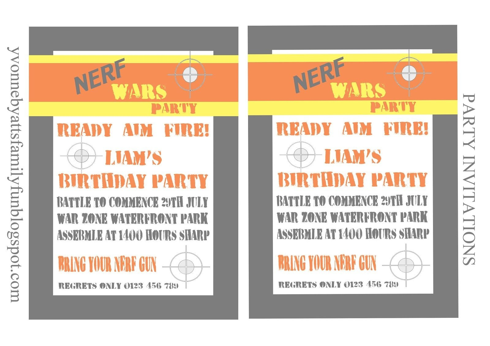 Yvonne Byatt's Family Fun: Nerf Party Printables | For Max | Nerf - Free Nerf Printables