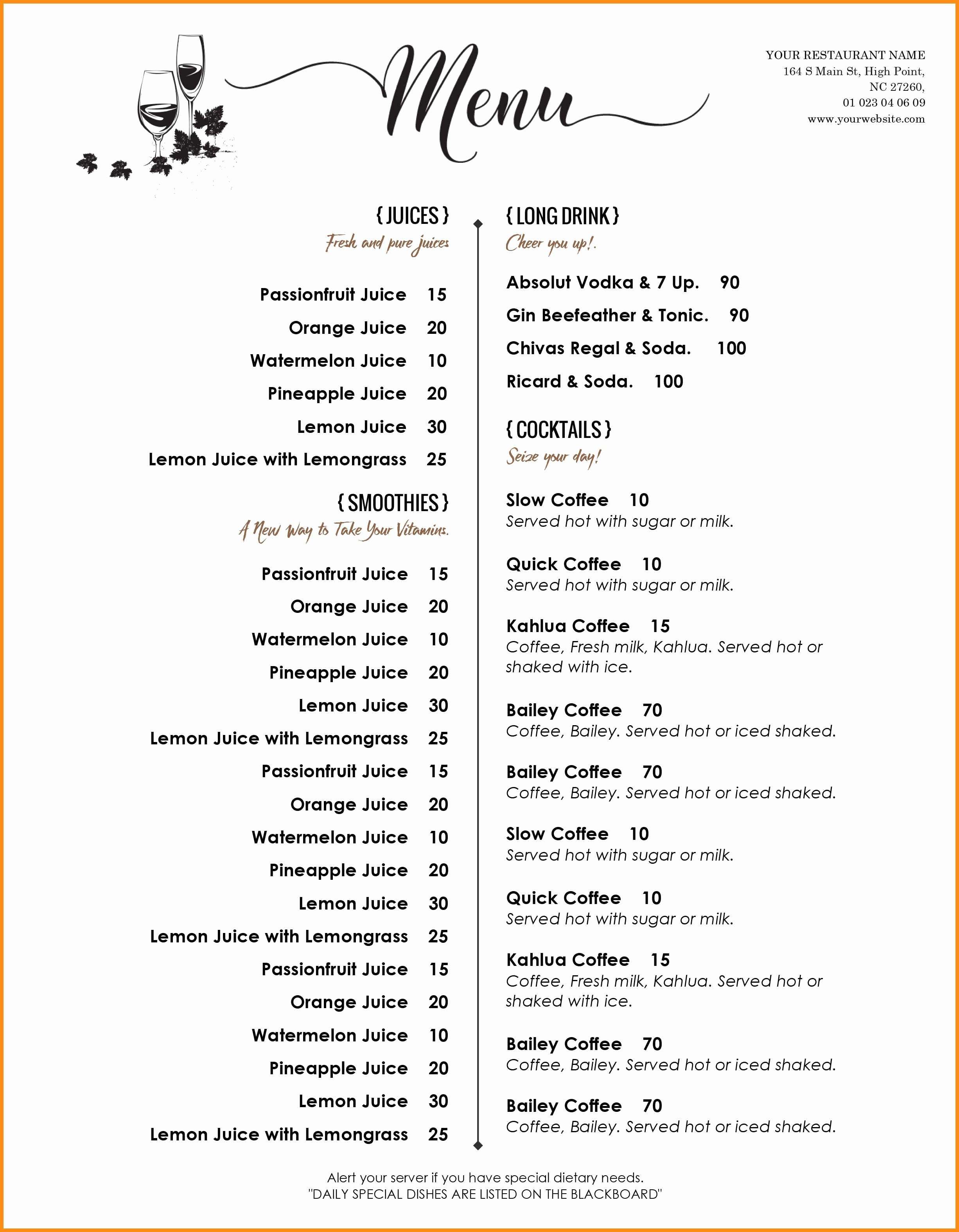 004 Free Printable Drink Menu Template Elegant Templates Word Of - Menu Template Free Printable Word