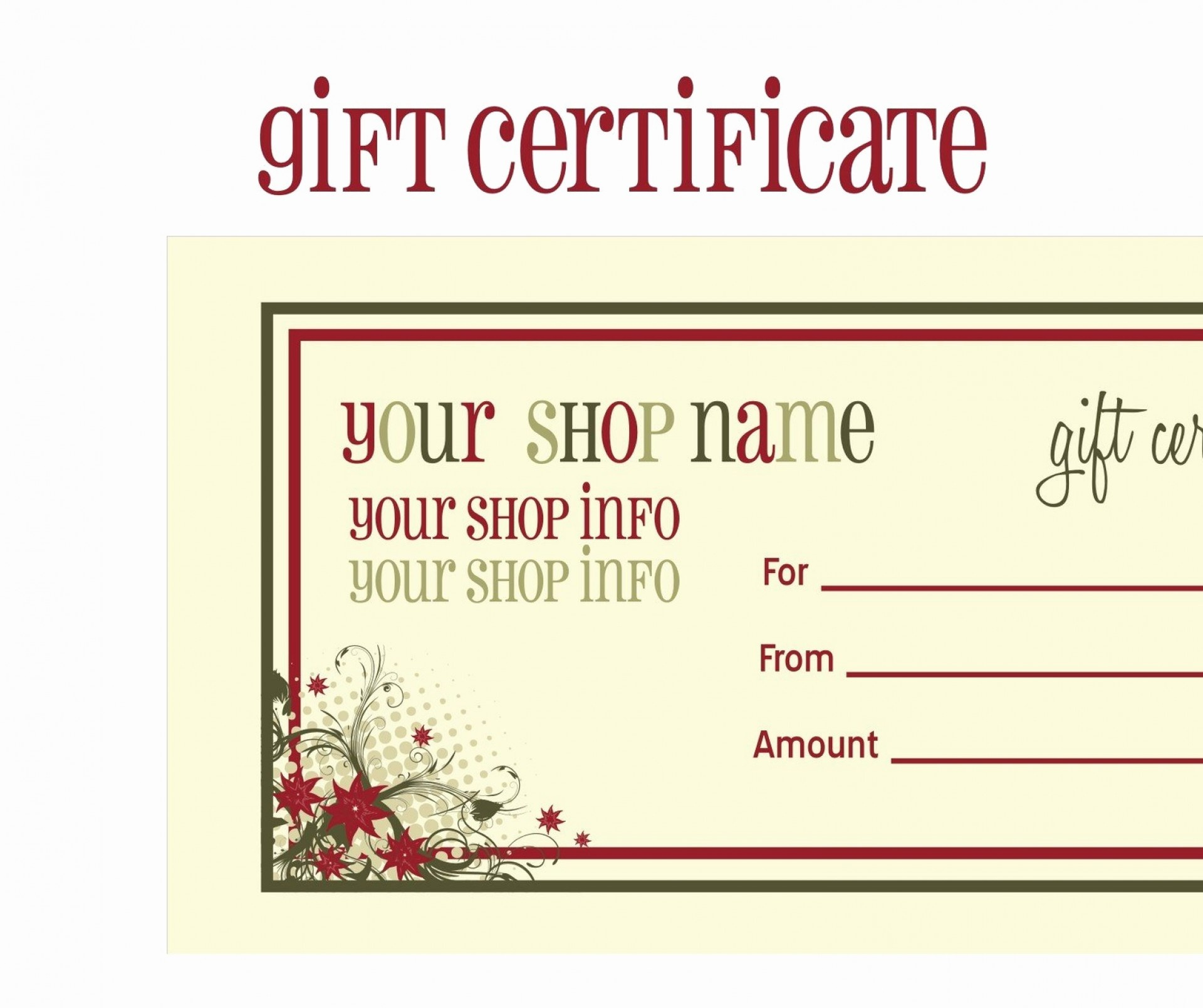 008 Template Ideas Free Printable Gift Certificate Christmas Word Or - Free Printable Gift Vouchers Uk