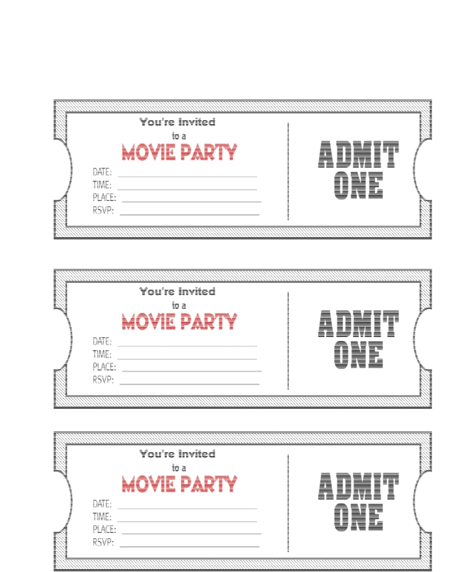 010 Free Printable Movie Ticket Template Picture Admit One Party - Free Printable Admit One Invitations