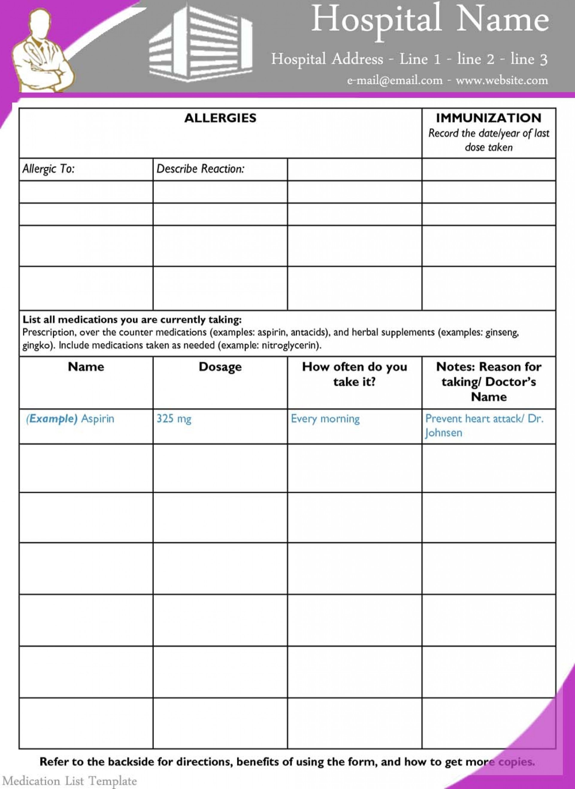 013 Medication List Form Blank Template Price Free Printable - Free Printable Wallet Medication List Template