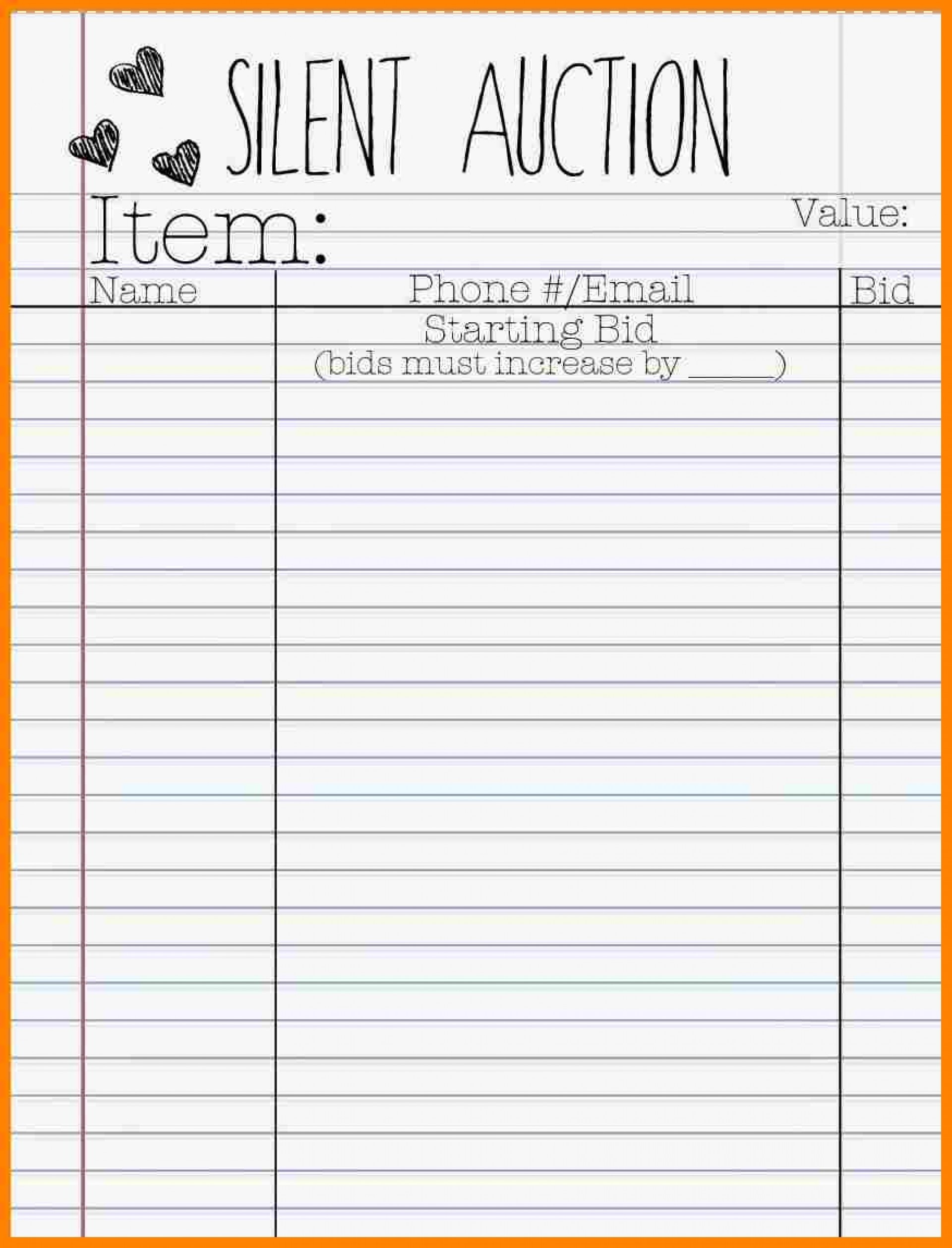 017 Silent Auction Bid Sheet Template Word 21442 Best Ideas - Free Printable Silent Auction Bid Sheets