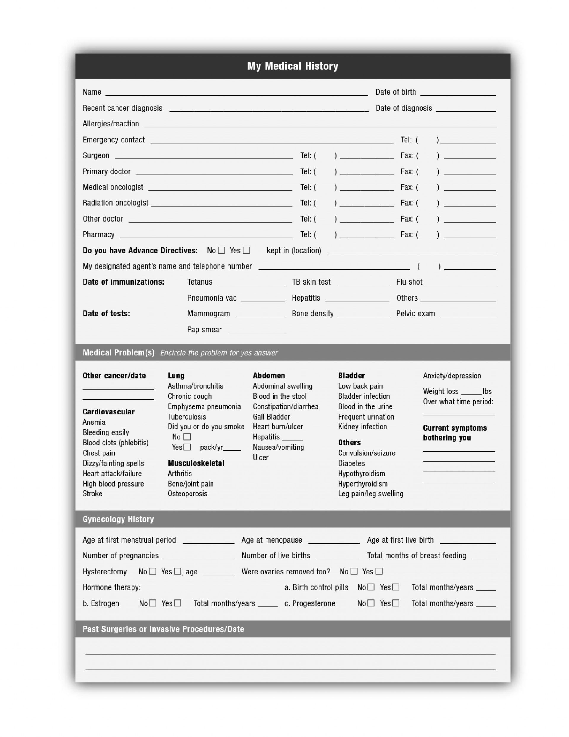 018 Template Ideas Free Printable Medical History Forms 142171 - Free Printable Personal Medical History Forms