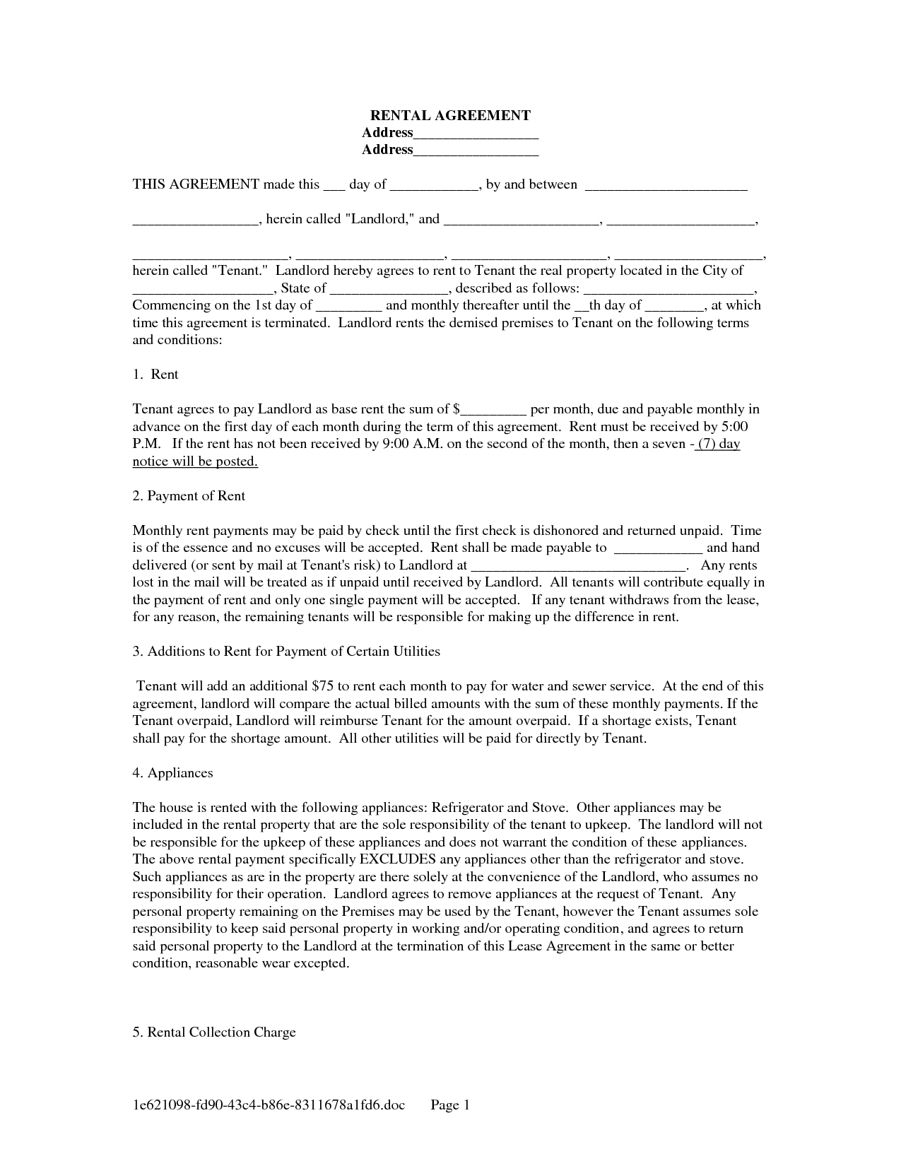 022 Template Ideas Rental Lease Agreement Word Radiovkm Free - Free Printable Rental Lease Agreement