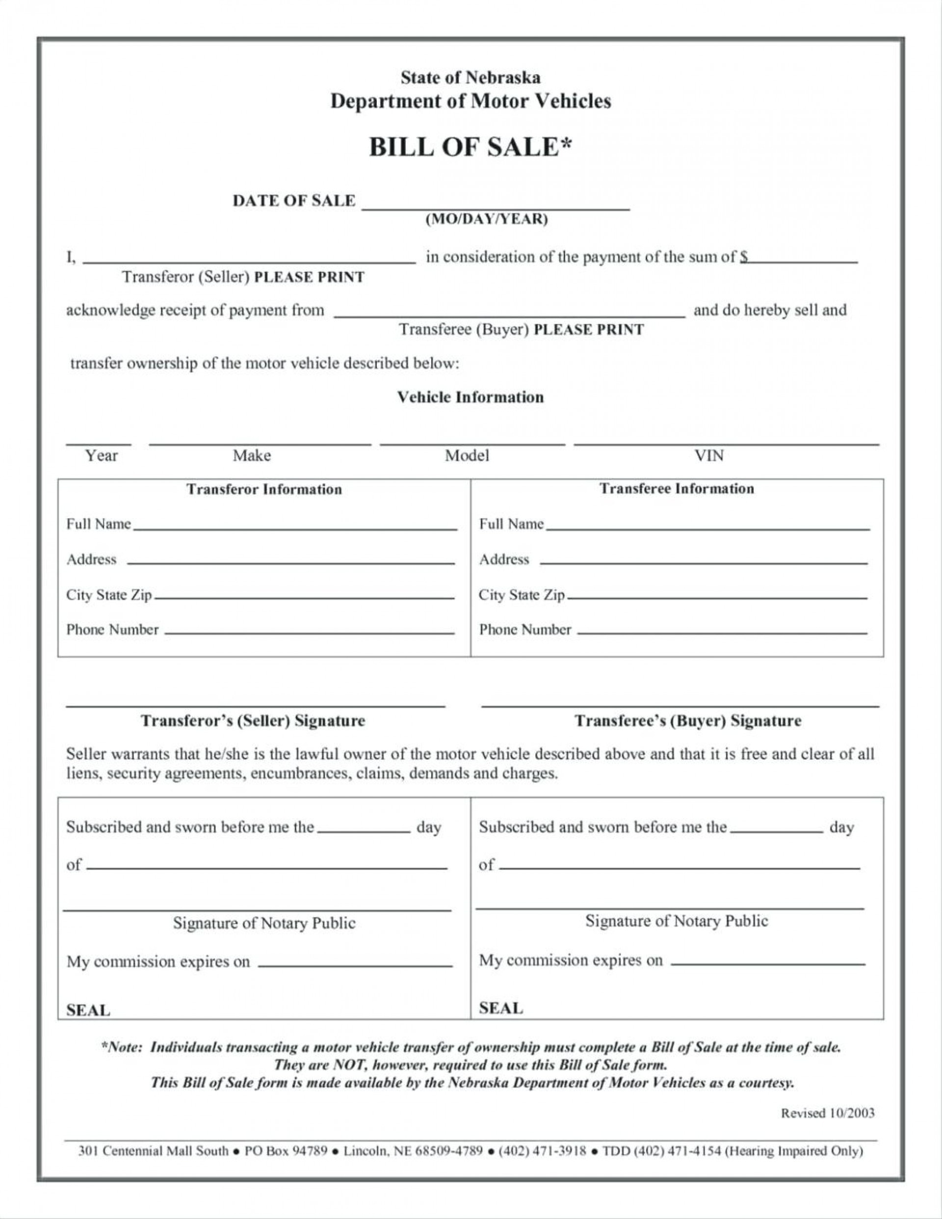 024 Free Printable Bill Of Sale Form Vehicle Template And For Mobile - Free Printable Bill Of Sale For Mobile Home