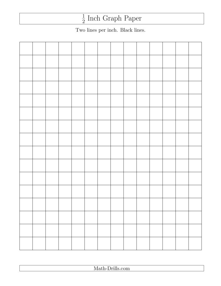 1/2 Inch Graph Paper With Black Lines (A) - Free Printable Graph Paper Black Lines