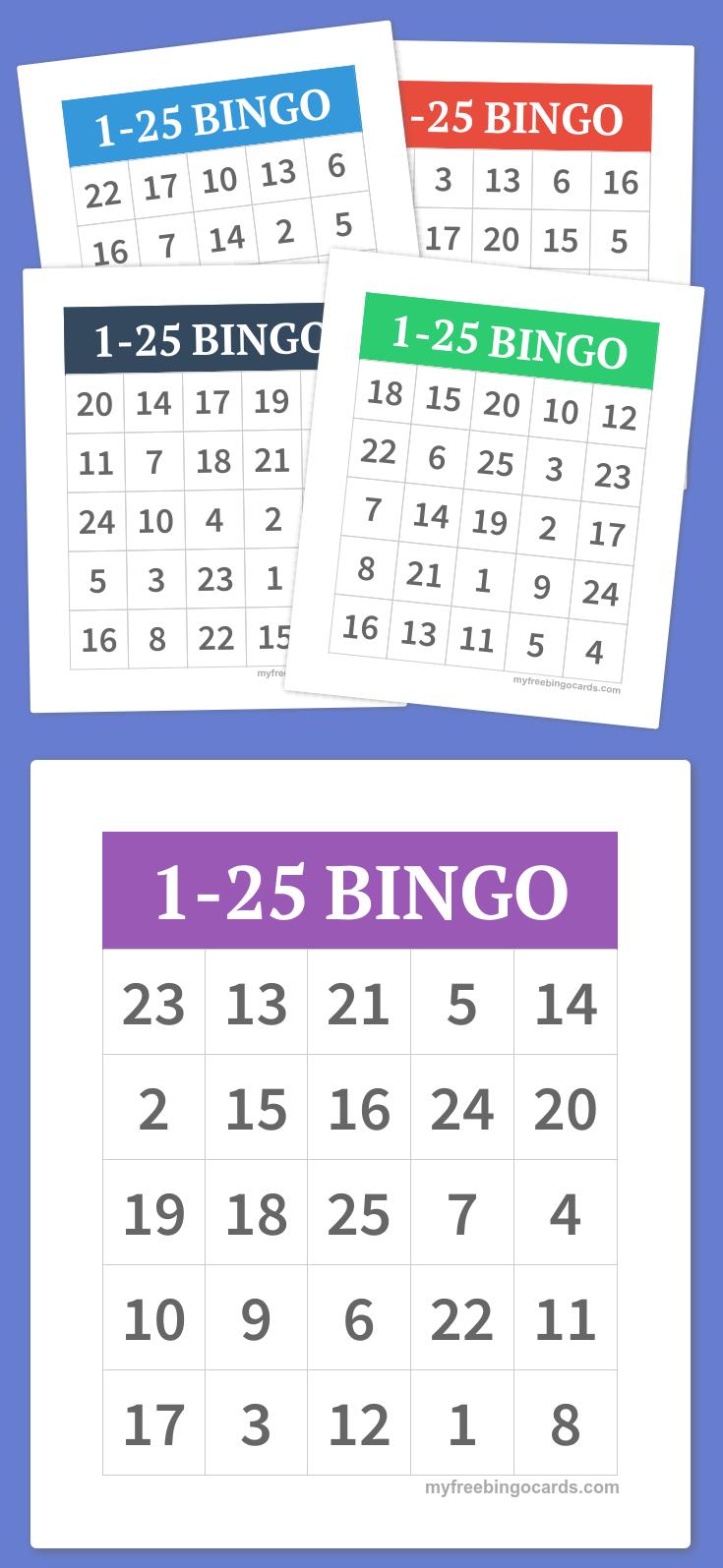 1-25 Bingo | Diy | Alphabet Bingo, Bingo Cards, Bingo - Free Printable Number Bingo Cards 1 20