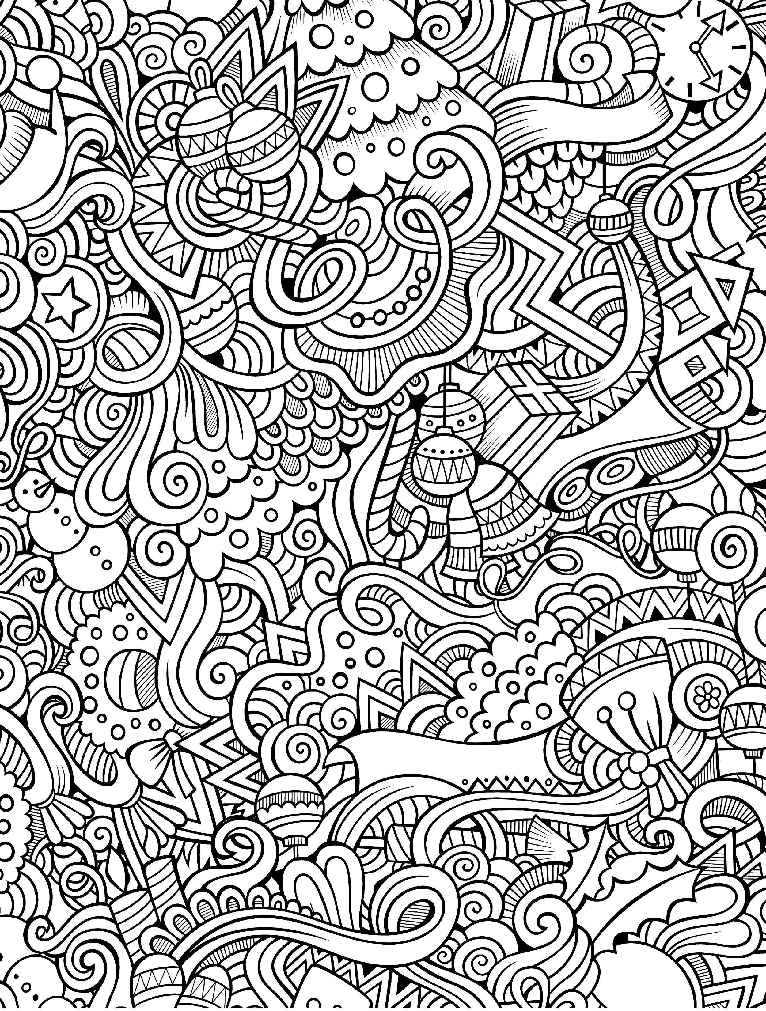 10 Free Printable Holiday Adult Coloring Pages | Coloring Pages - Free Printable Doodle Patterns