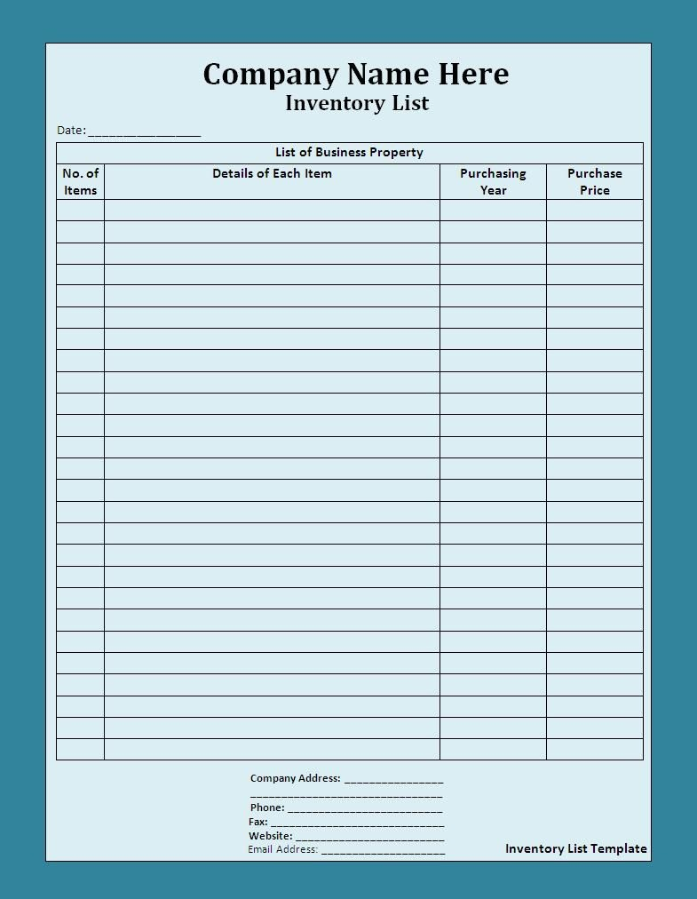 10+ Inventory List Templates | Free Printable Word, Excel & Pdf - Free Printable Inventory Sheets Business