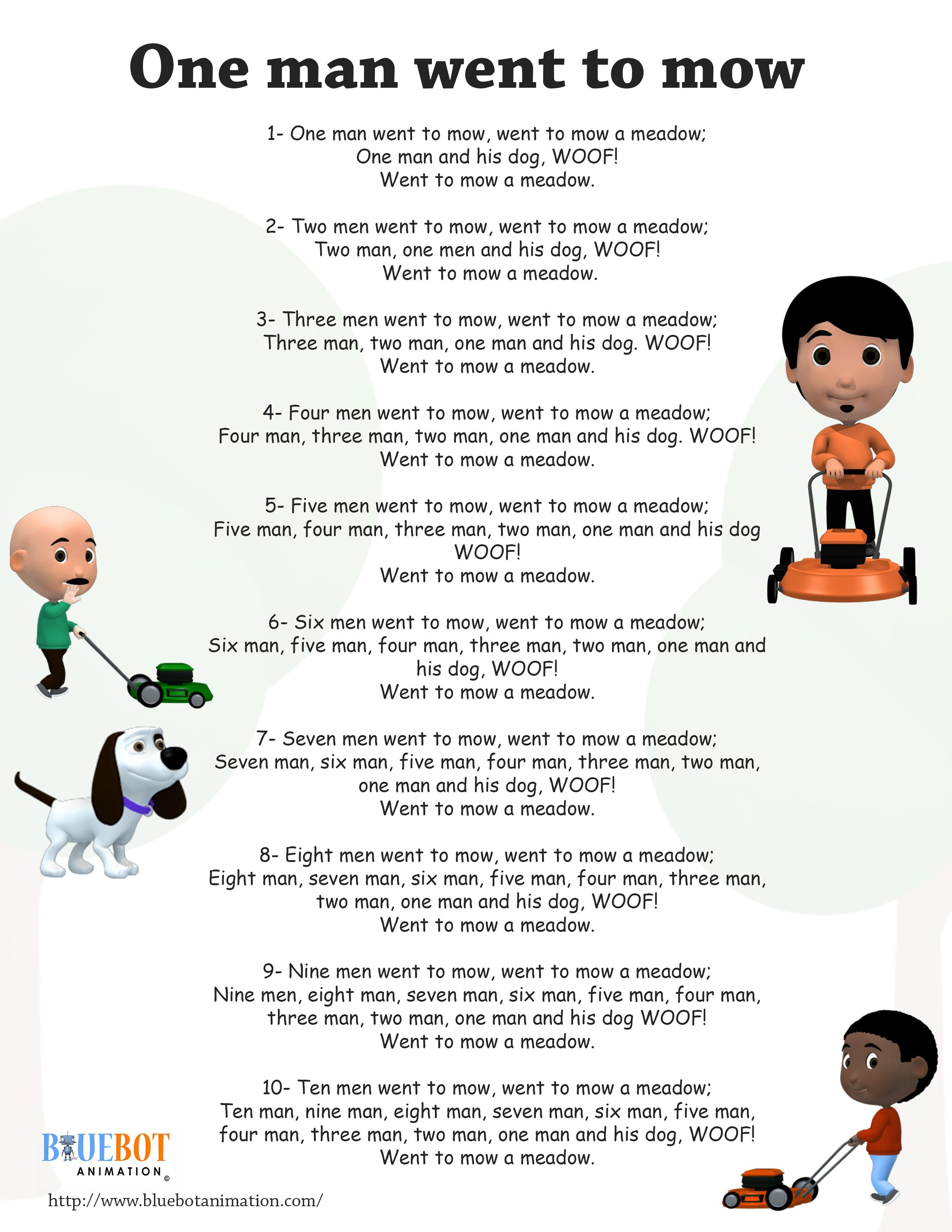 10 Men Went To Mow Nursery Rhyme Lyrics Free Printable Nursery Rhyme - Free Printable Nursery Rhymes Songs