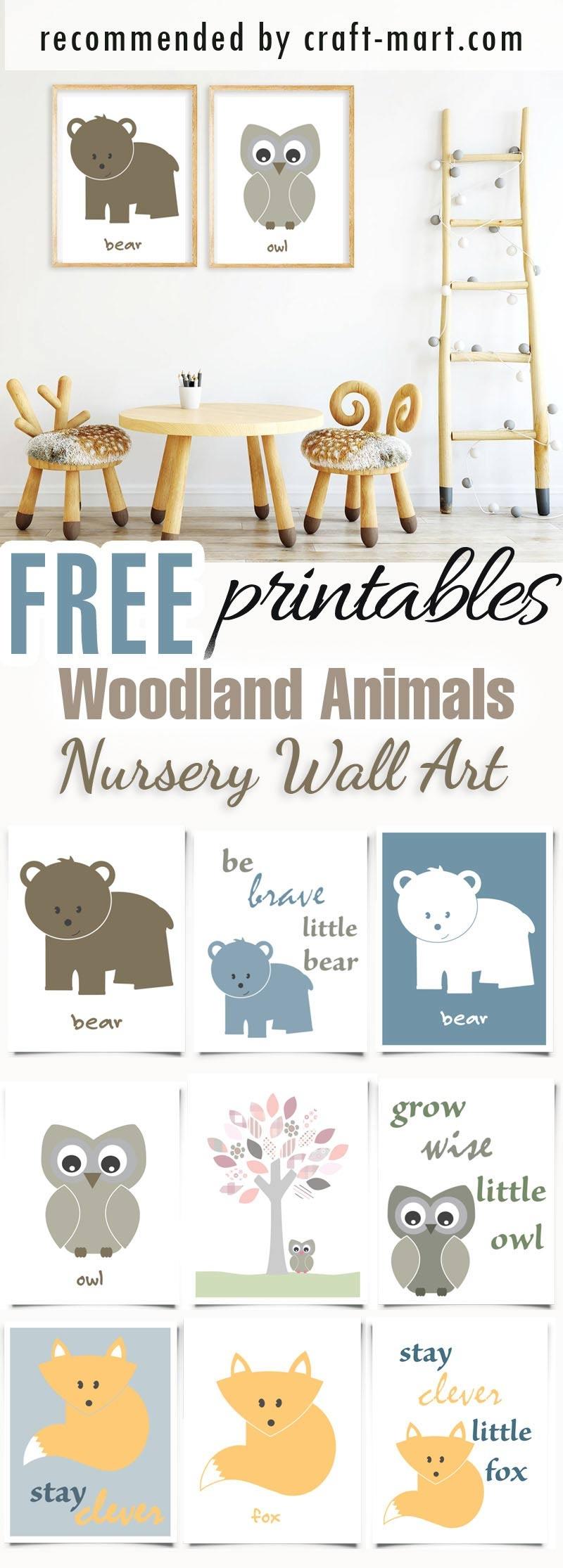 100+ Best Free Nursery Printables And Wall Art - Craft-Mart - Free Printable Woodland Animal Templates