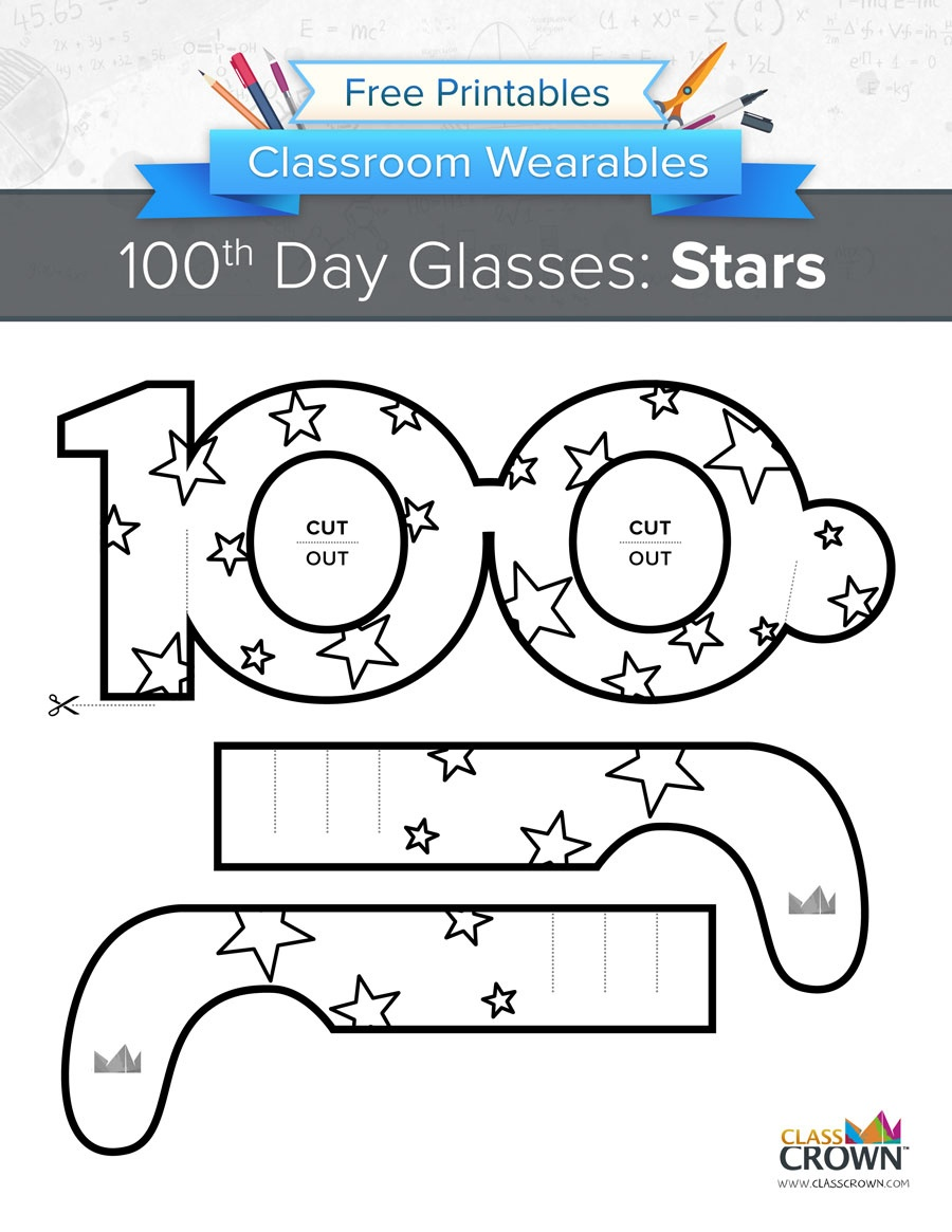 100Th Day Of School Glasses: Stars - Wearables | Classcrown - 100Th Day Of School Printable Glasses Free