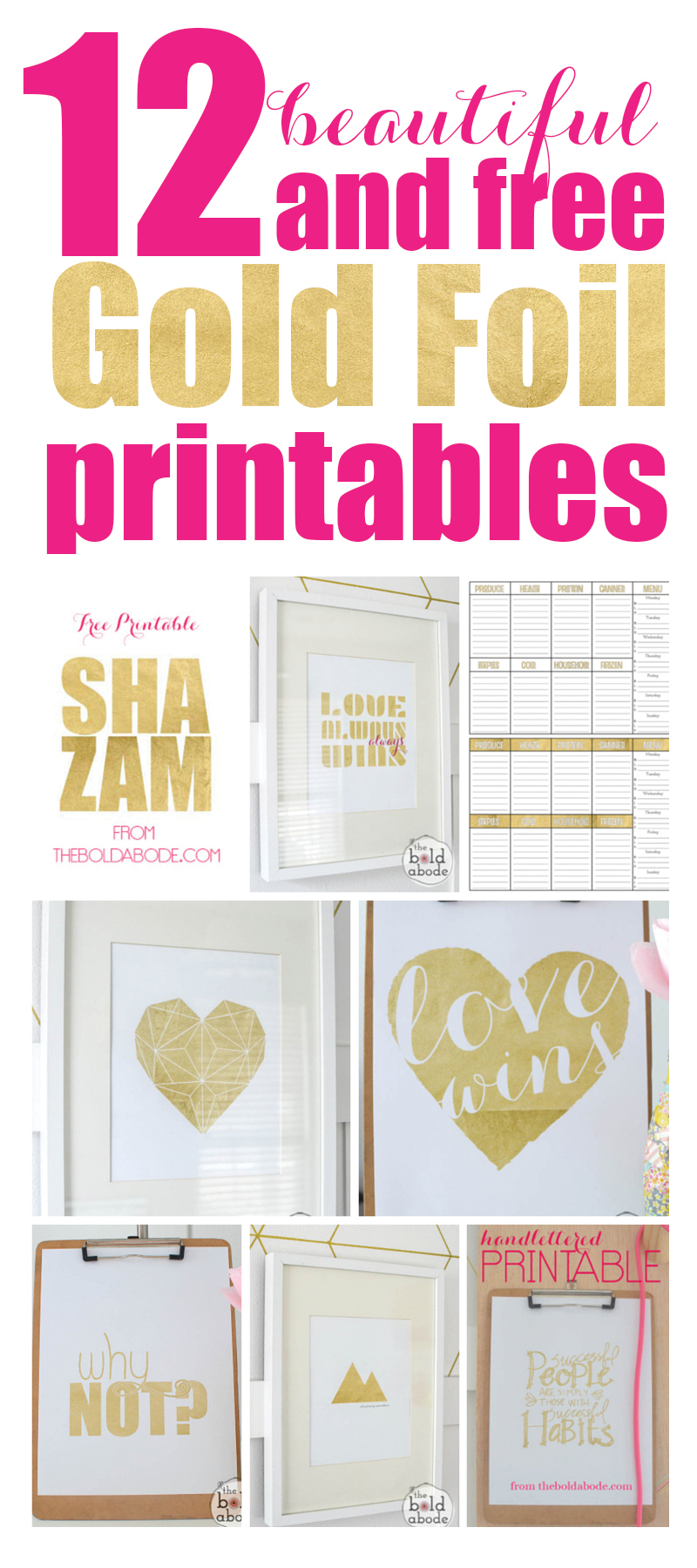 12 Beautiful (And Free) Gold Foil Printables - Free Printables For Foiling
