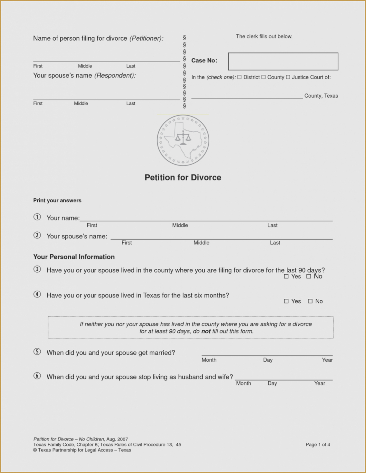 13 Small But Important Things To Observe In   Form Information - Free Printable Divorce Forms Texas