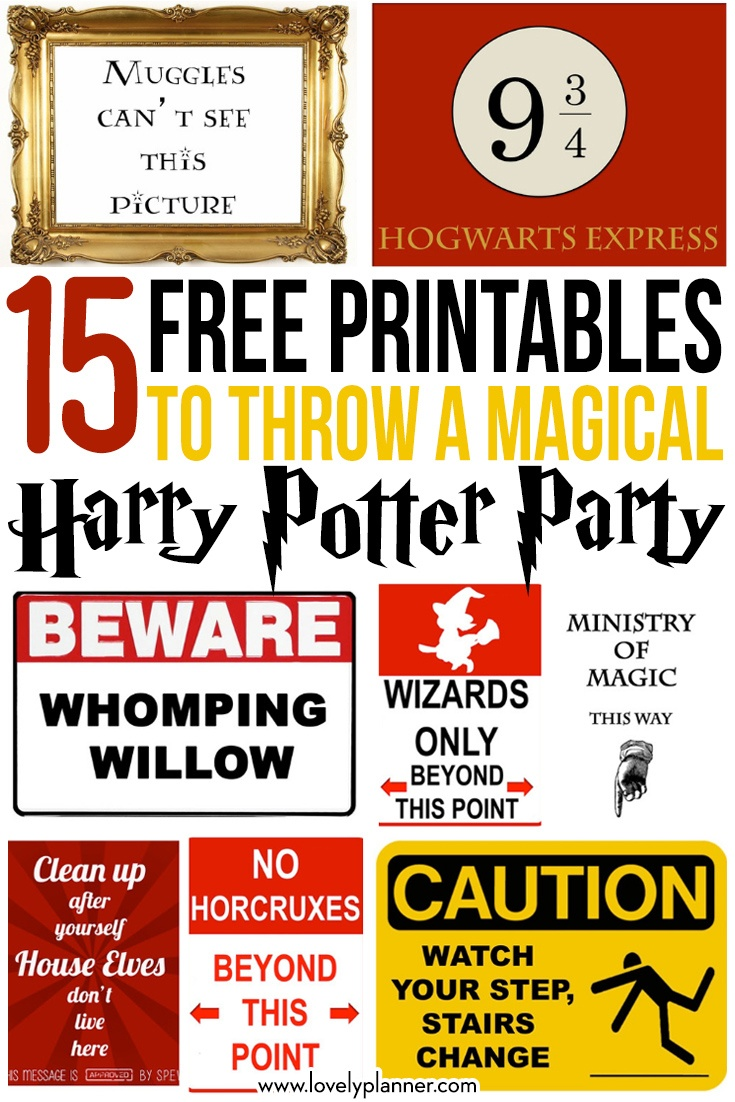 15 Free Harry Potter Party Printables - Part 1 - Lovely Planner - Free Harry Potter Printables