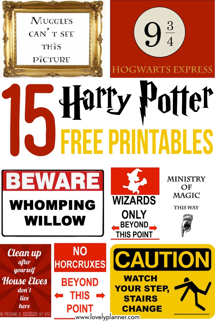15 Free Harry Potter Printables - Lovely Planner - Free Harry Potter Printables