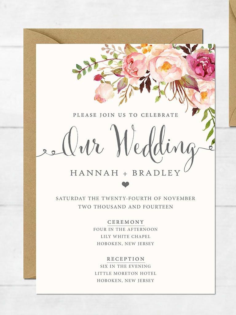 16 Printable Wedding Invitation Templates You Can Diy   Wedding - Free Printable Wedding Invitations