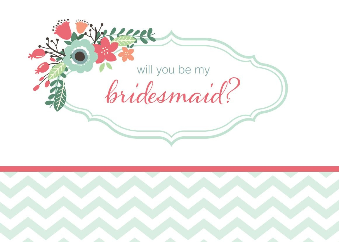 19 Free, Printable Will You Be My Bridesmaid? Cards - Free Printable Bridesmaid Proposal