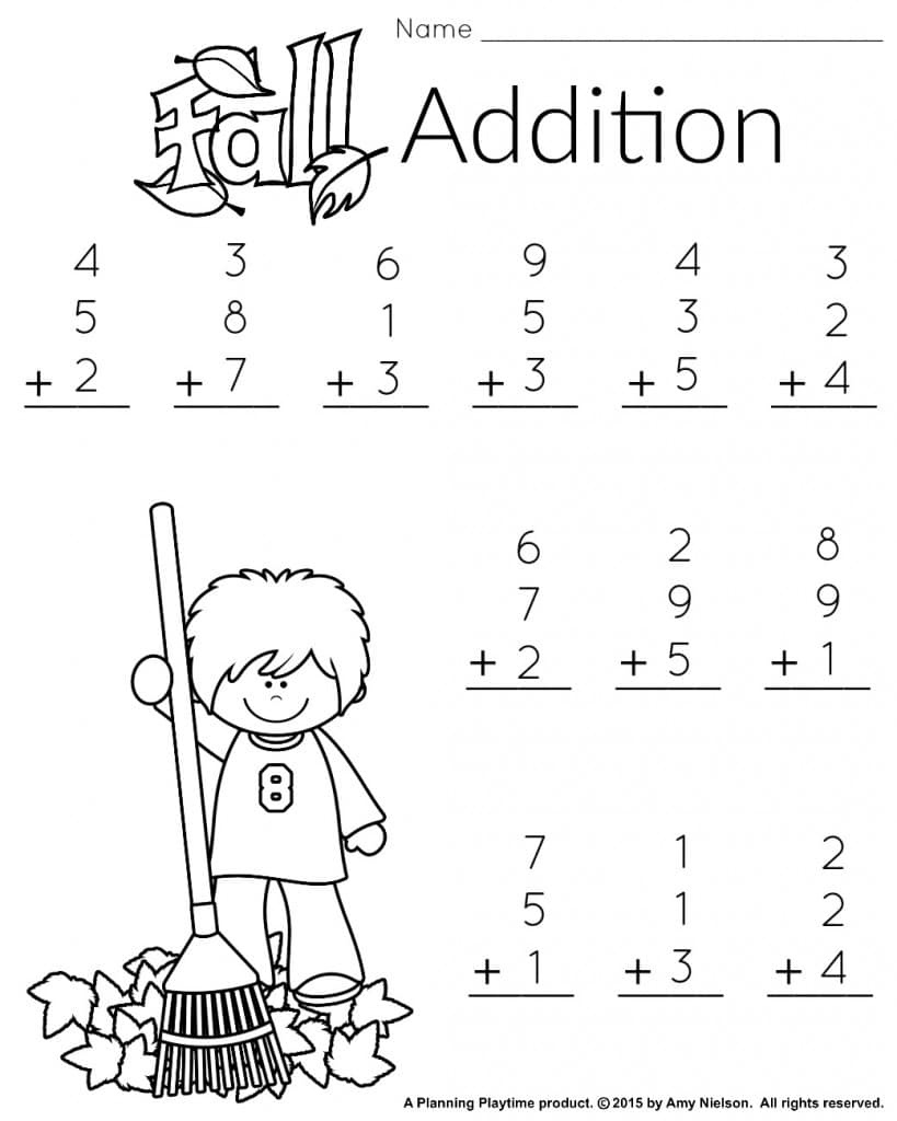 1St Grade Math And Literacy Worksheets With A Freebie! - Planning - Free Printable Fall Math Worksheets