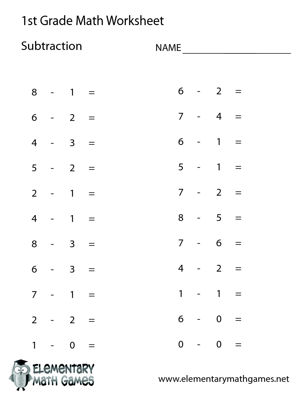 1St Grade Math Worksheets | 1St Grade Math | First Grade Math - Free Printable Math Test For 1St Grade