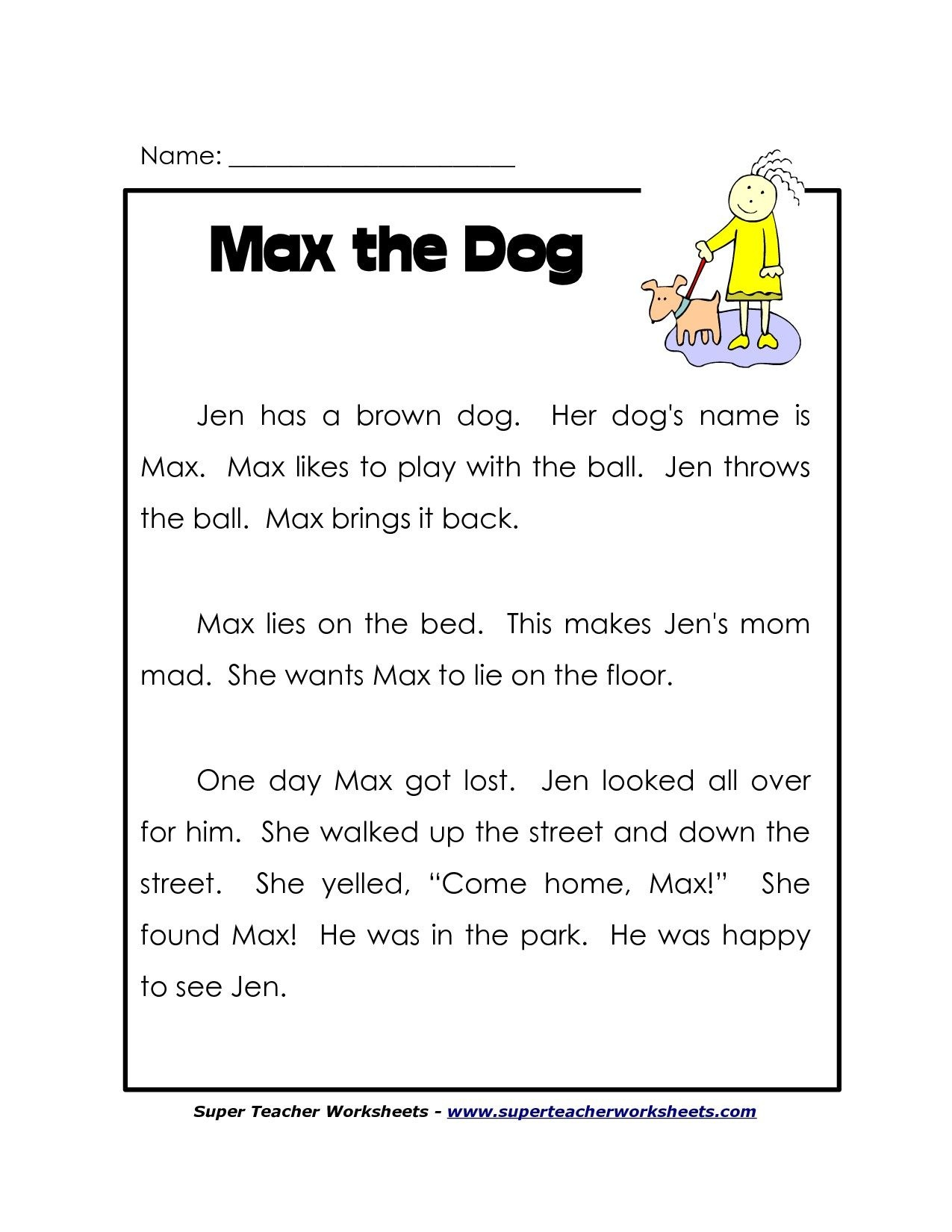 1St Grade Reading Worksheets Free. Lots More On - Free Reading Printables For 1St Grade