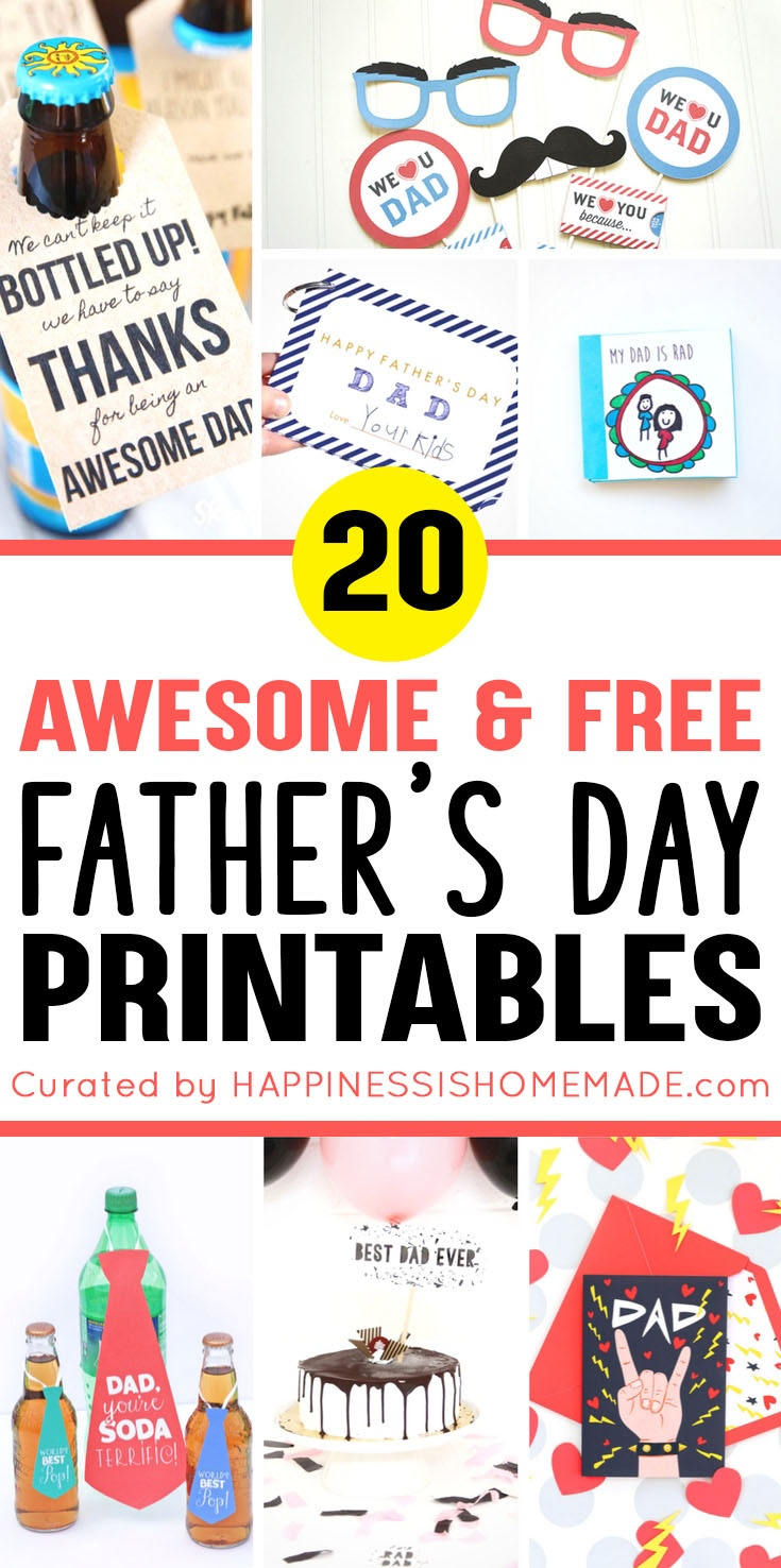20+ Free Father's Day Printables - Happiness Is Homemade - Free Father's Day Printables
