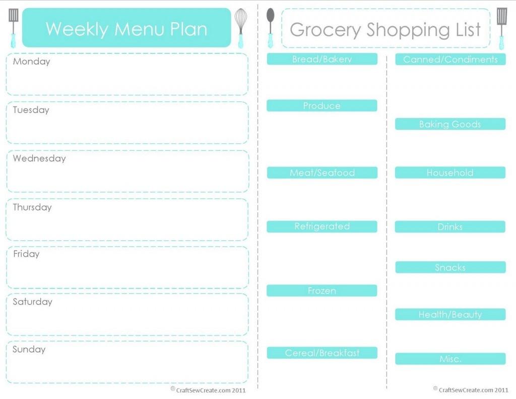 20 Free Menu Planner Printables | Fab N' Free - Weekly Menu Free Printable
