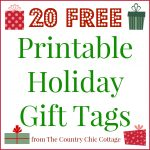 20 Printable Holiday Gift Tags (For Free!!)   The Country Chic Cottage   Free Printable Holiday Labels
