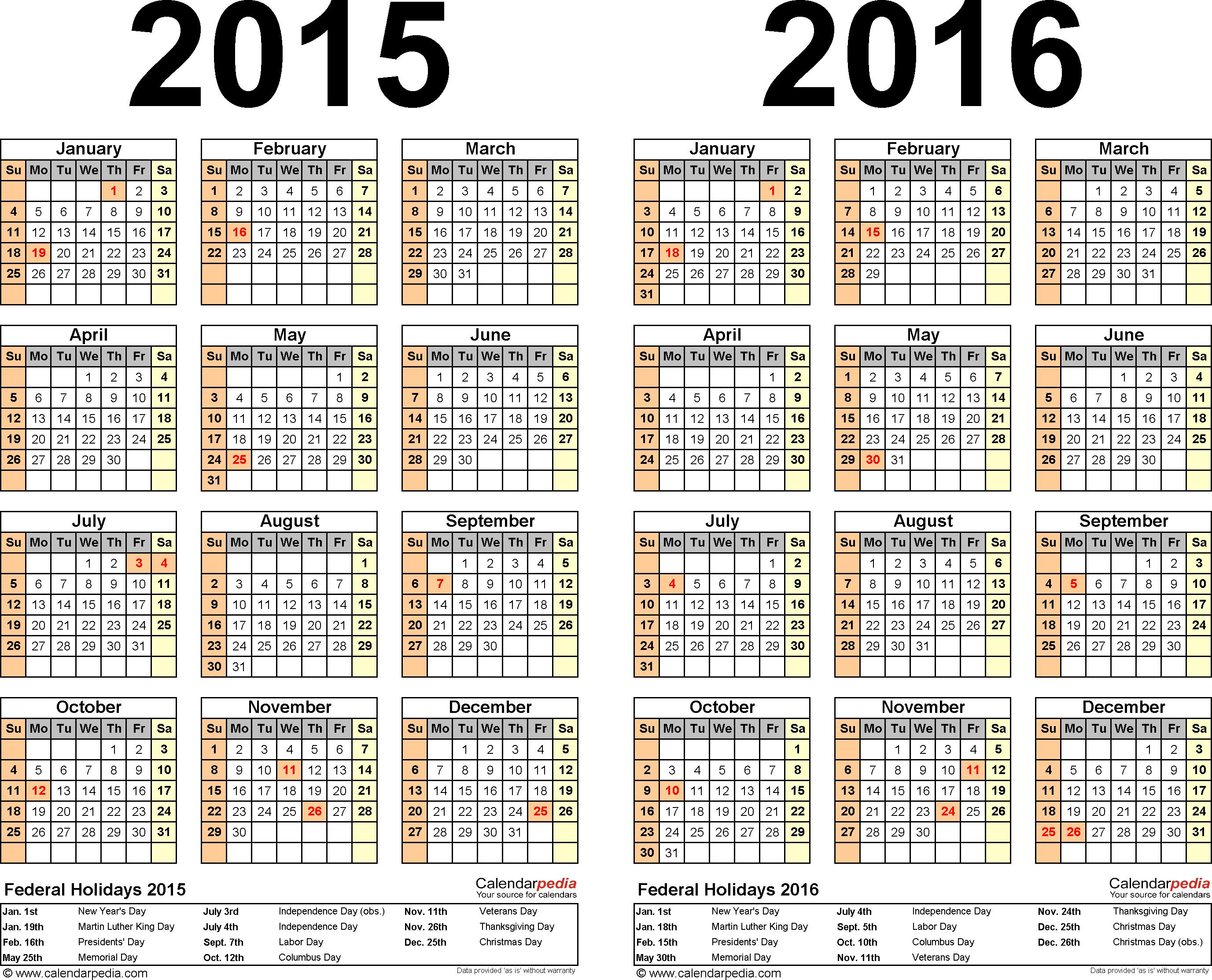 2015-2016 Calendar - Free Printable Two-Year Word Calendars - Free Printable Diary 2015