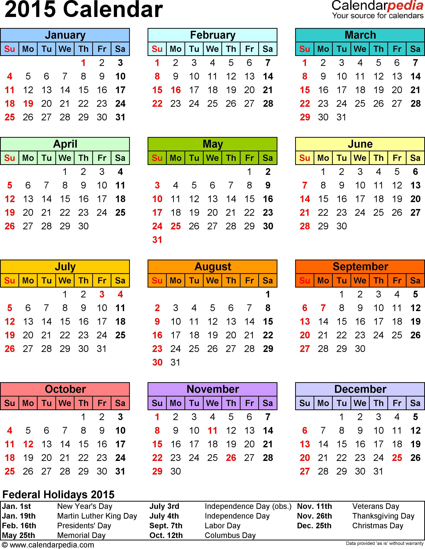 2015 Calendar - 16 Free Printable Word Calendar Templates - Free Printable Diary 2015