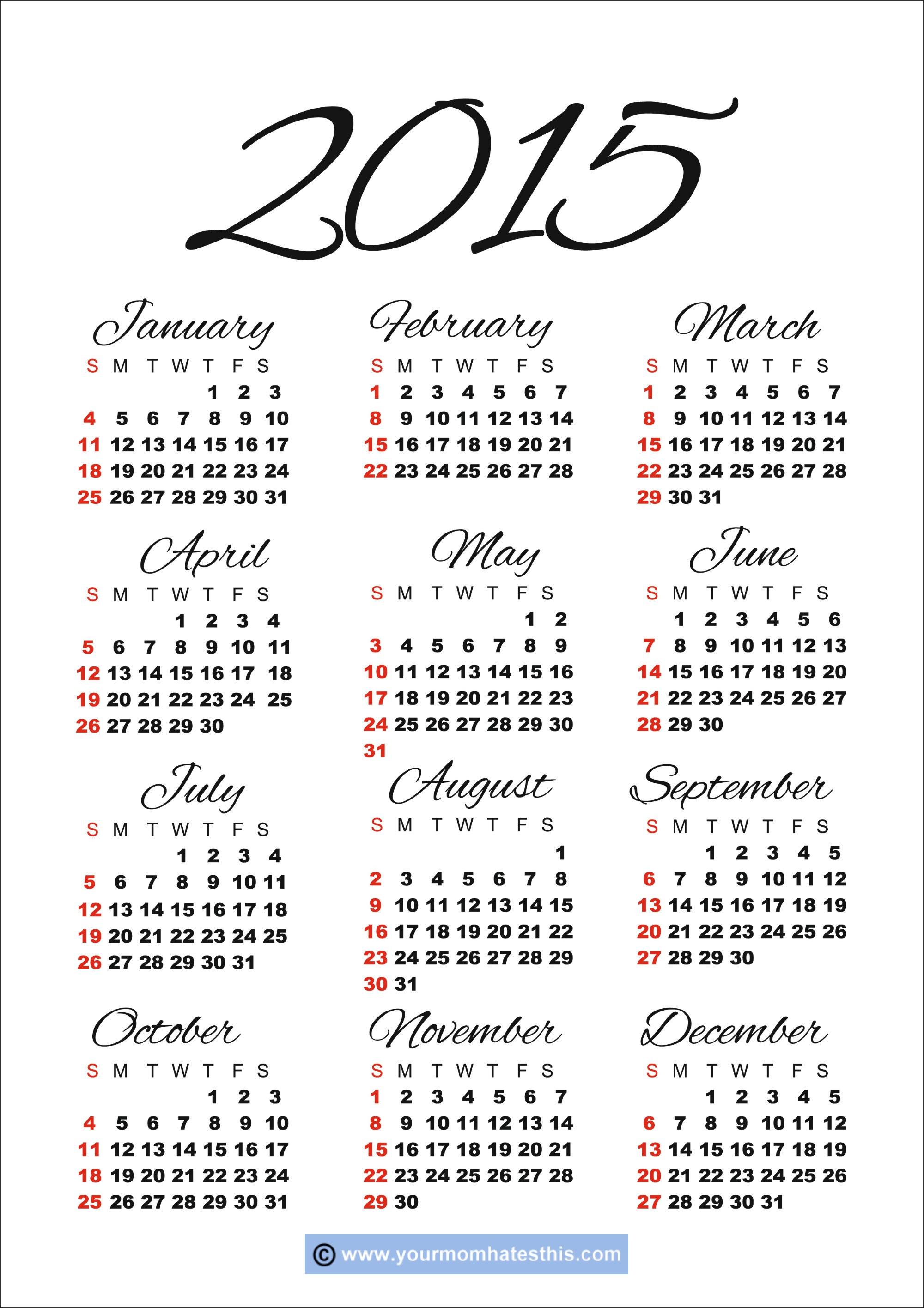 2015 Calendar Templates & Images - Free Printable Diary 2015