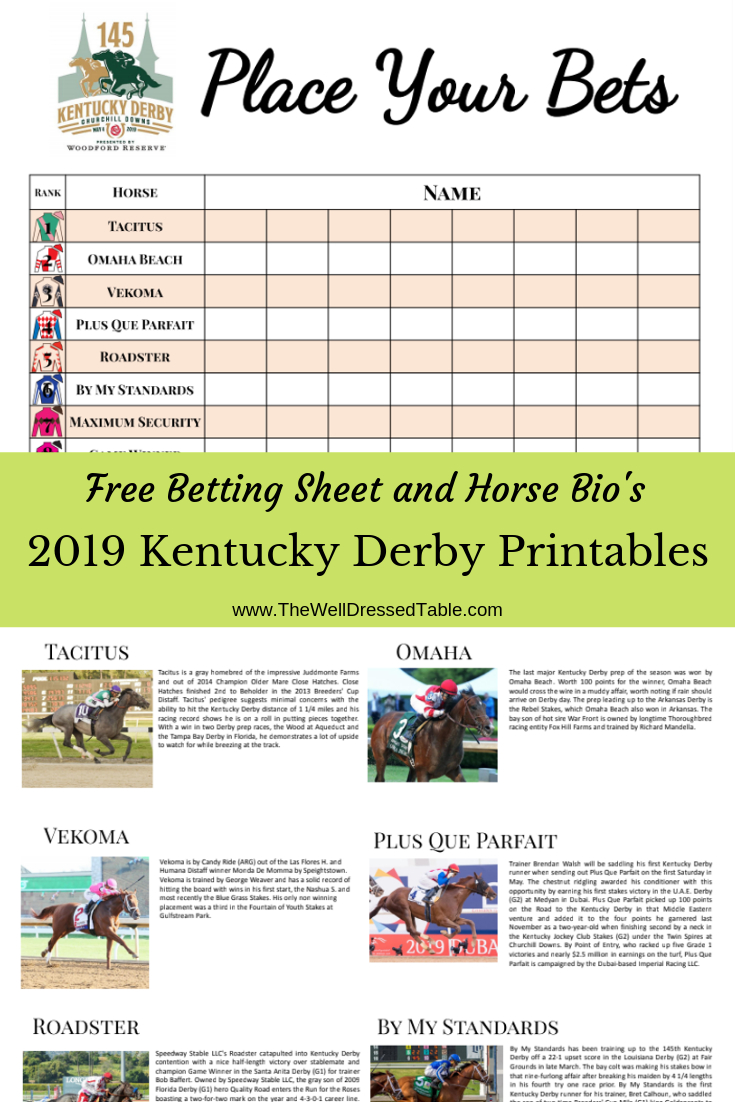 2019 Kentucky Derby Party & Free Betting Printables | Kentucky Derby - Free Kentucky Derby Printables