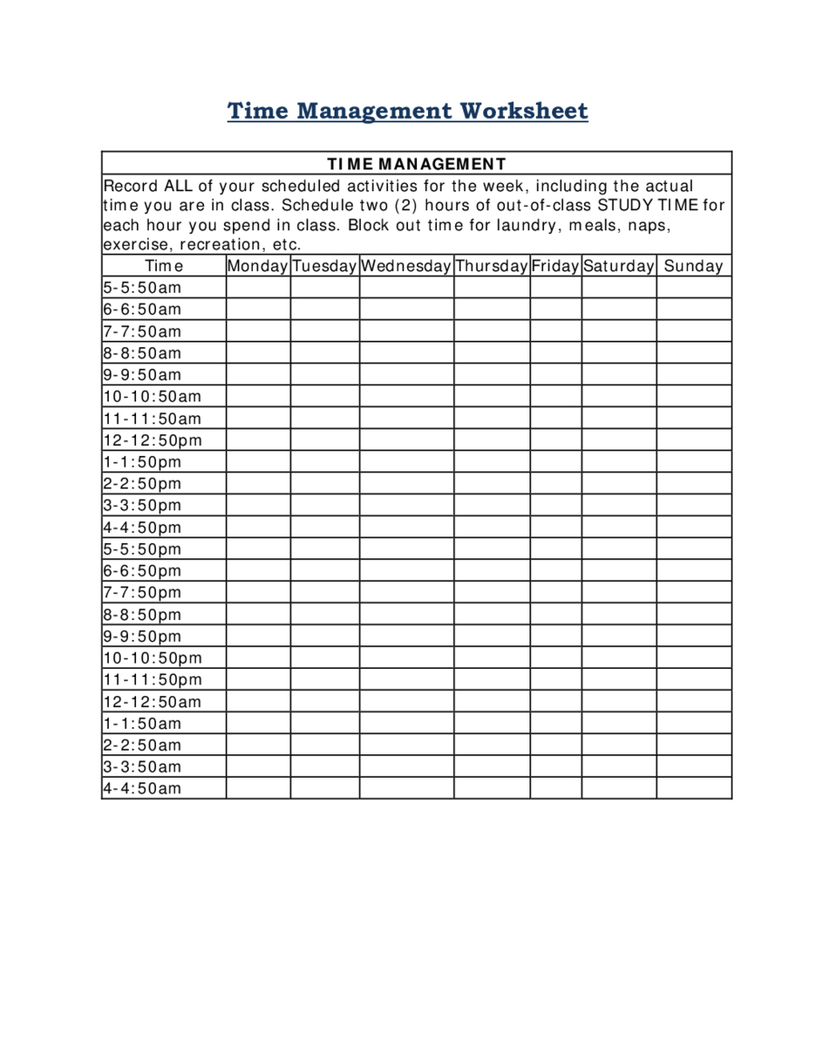 2019 Time Management - Fillable, Printable Pdf & Forms   Handypdf - Time Management Forms Free Printable