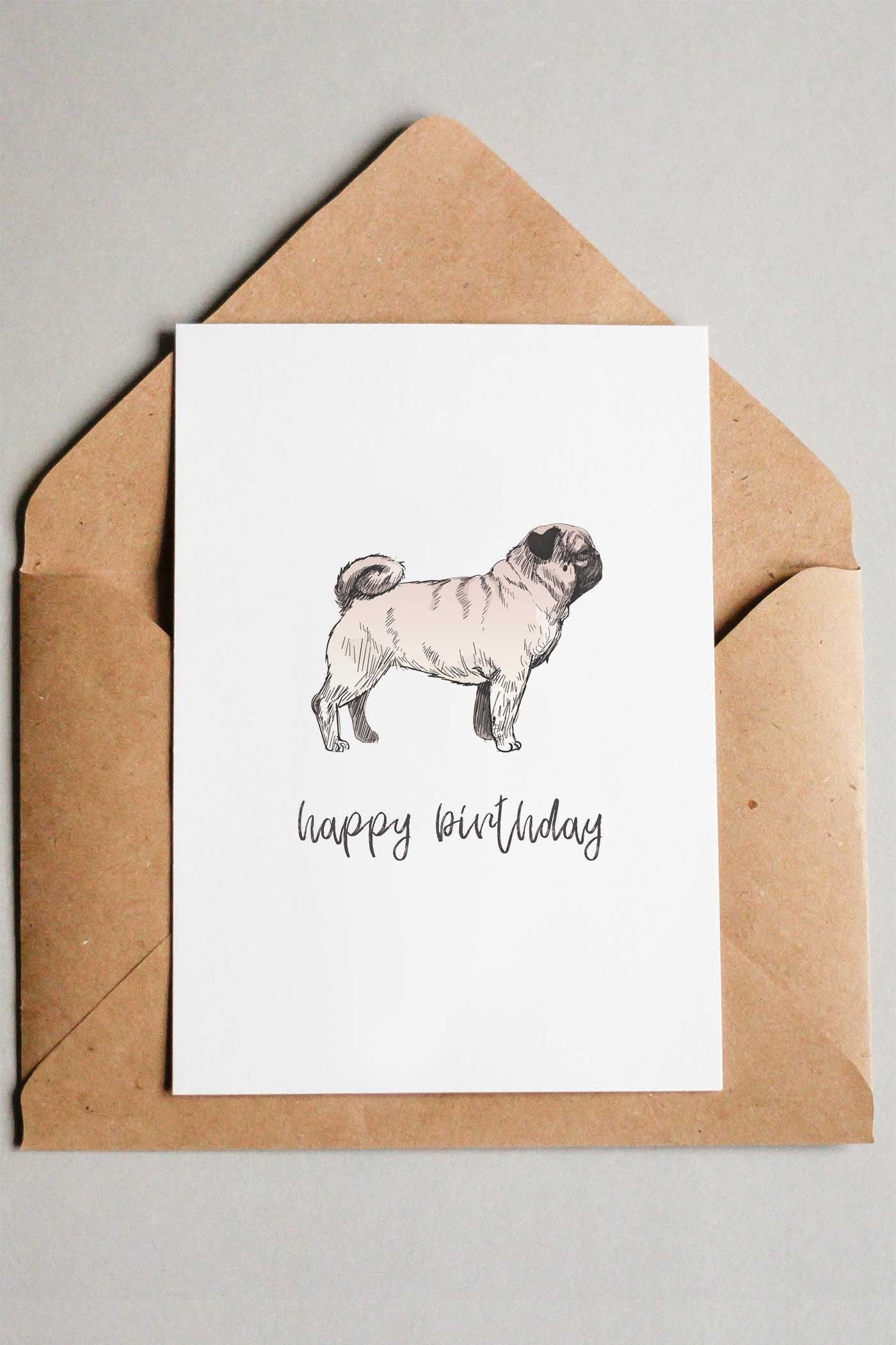 22 Free Printable Dog Birthday Cards | C A R D S | Free Printable - Free Printable Pug Birthday Cards
